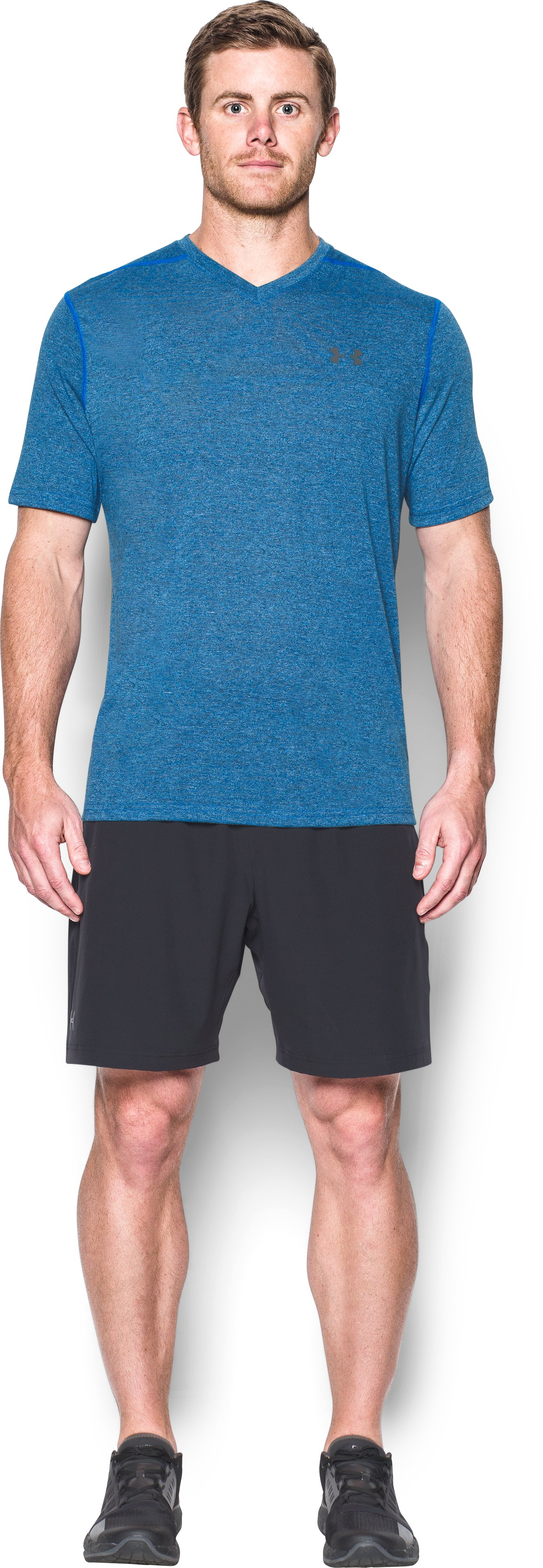 Men's UA Threadborne V-Neck T-Shirt, MAKO BLUE, Front