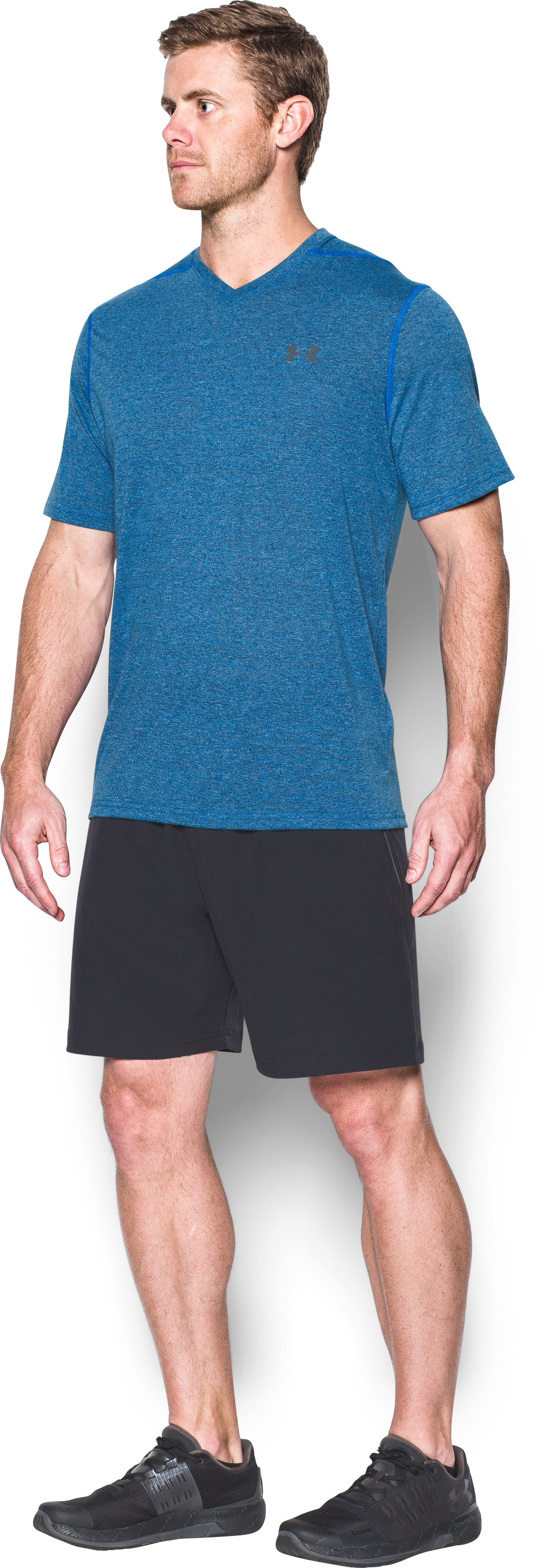 Men's UA Threadborne V-Neck T-Shirt, MAKO BLUE,