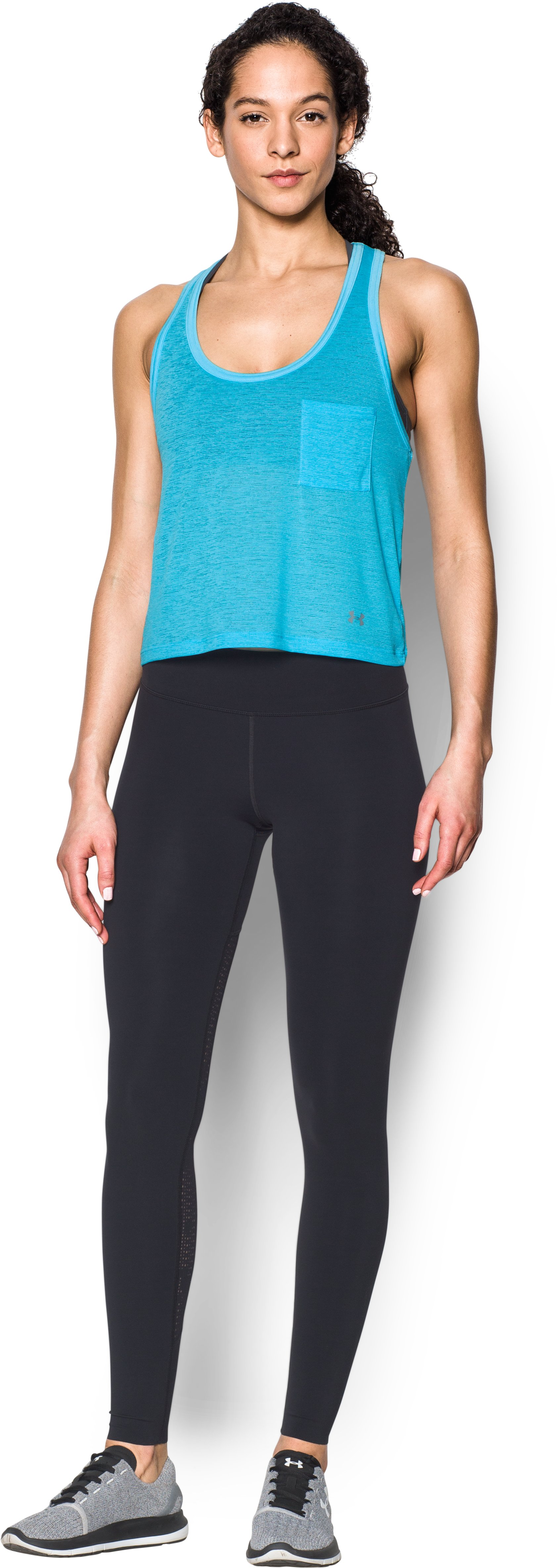 Women's UA Tech™ Slub Shorty Tank, ISLAND BLUES, Front