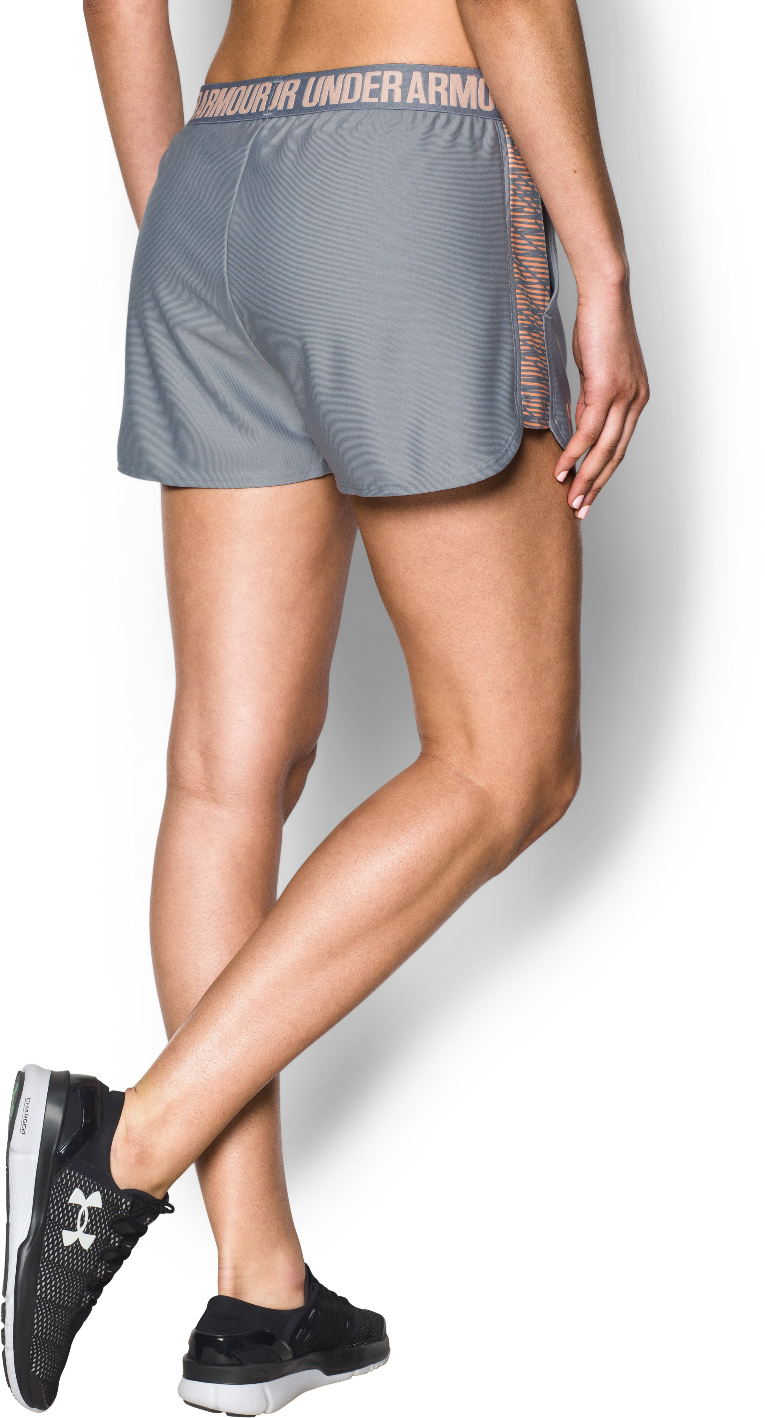 Women's UA Play Up Shorts 2.0 - Printed, Steel, undefined