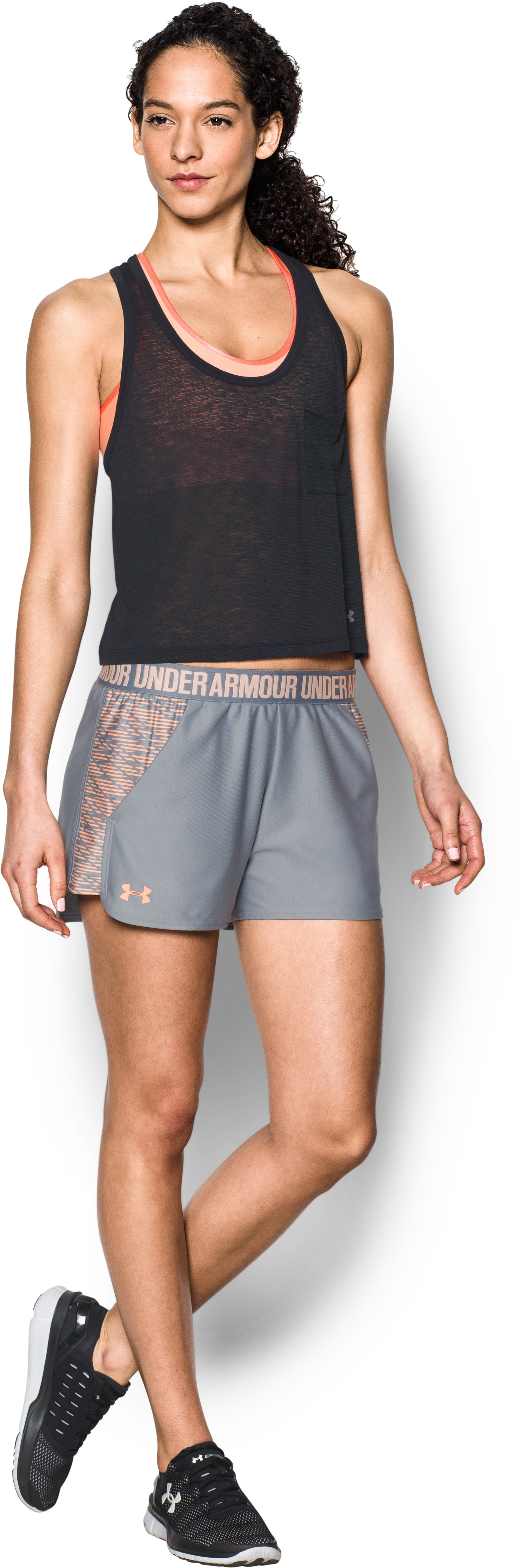 Women's UA Play Up Shorts 2.0 - Printed, Steel, Front