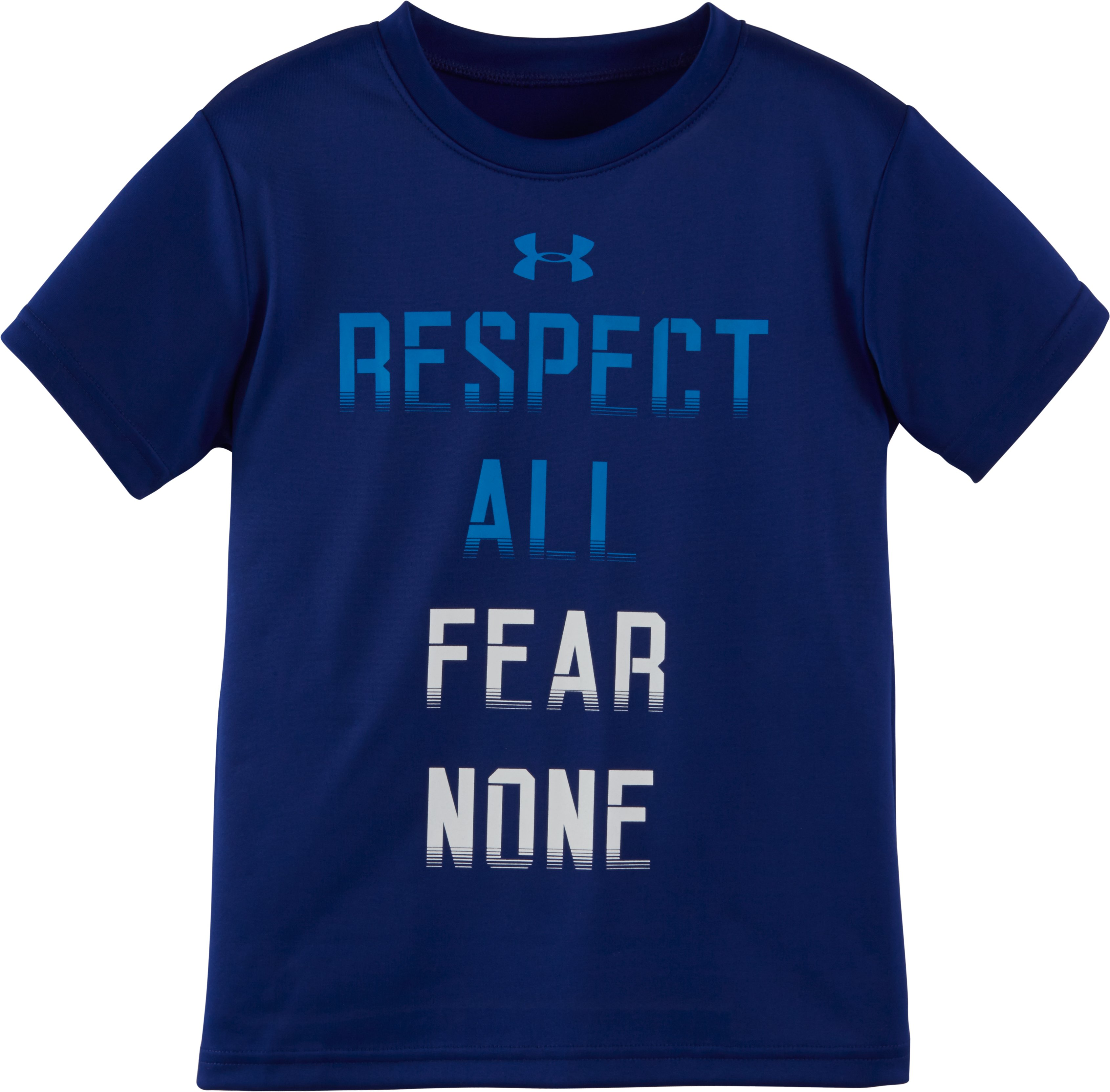Boys' Pre-School UA Respect All Fear None Short Sleeve T-Shirt, Caspian, Laydown