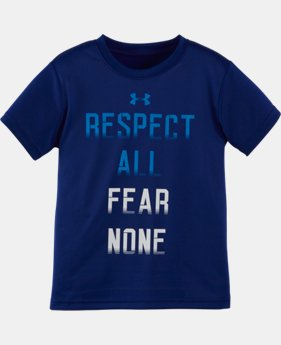 New Arrival Boys' Pre-School UA Respect All Fear None Short Sleeve T-Shirt LIMITED TIME: FREE SHIPPING  $17.99