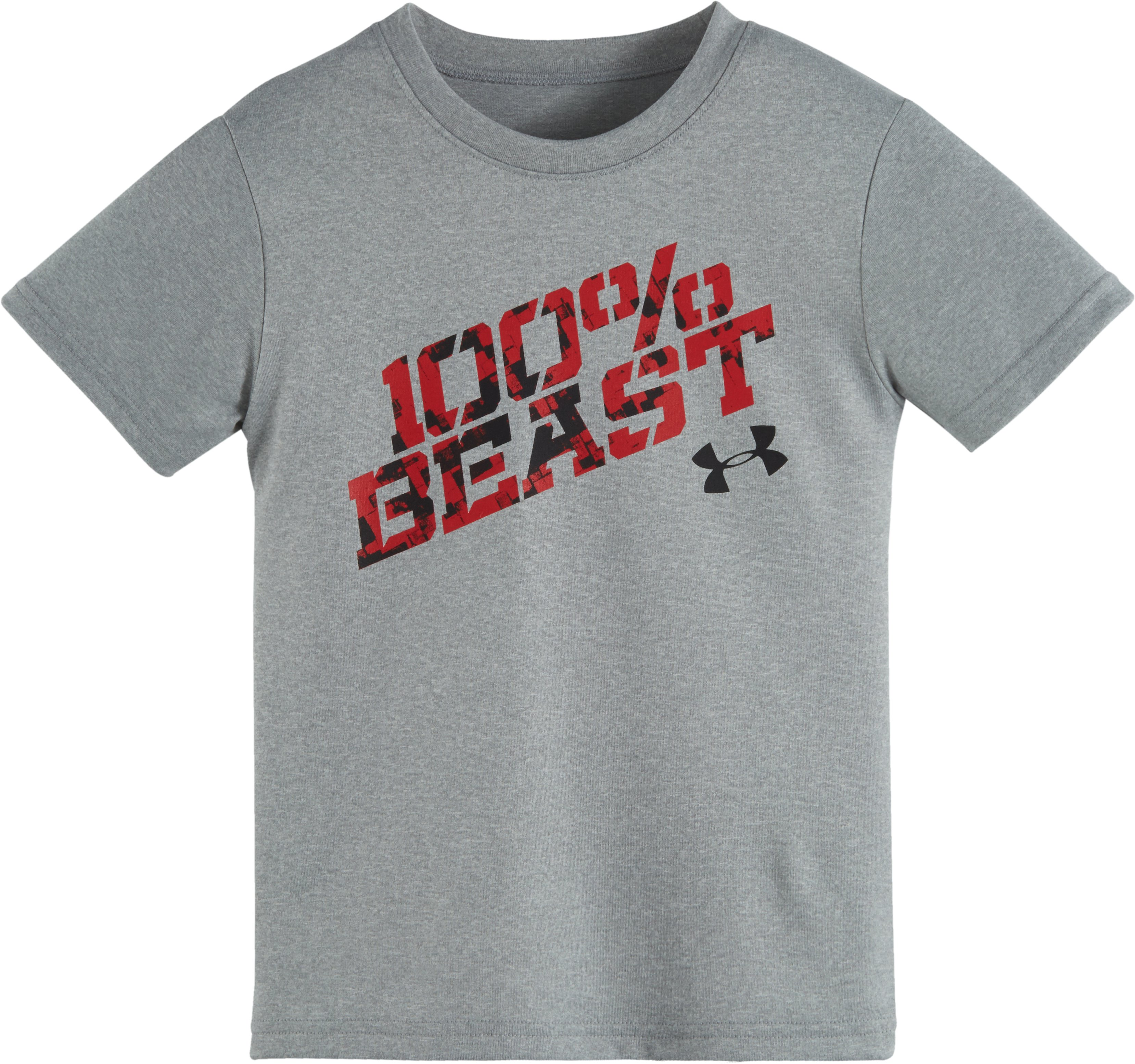 Boys' Toddler UA 100% Beast Short Sleeve T-Shirt, True Gray Heather, Laydown