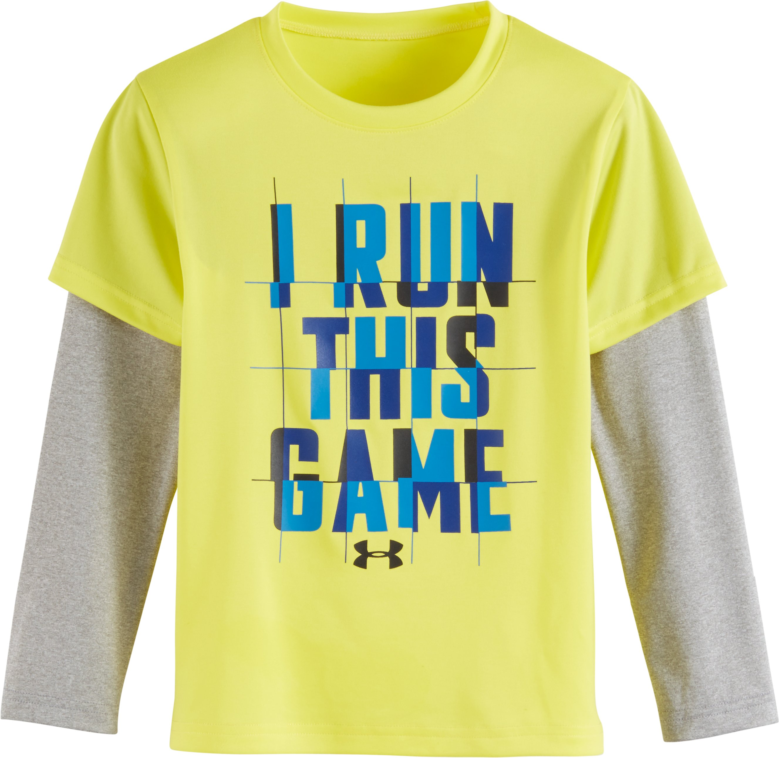 Boys' Toddler UA I Run This Game Slider, Sunbleached, Laydown