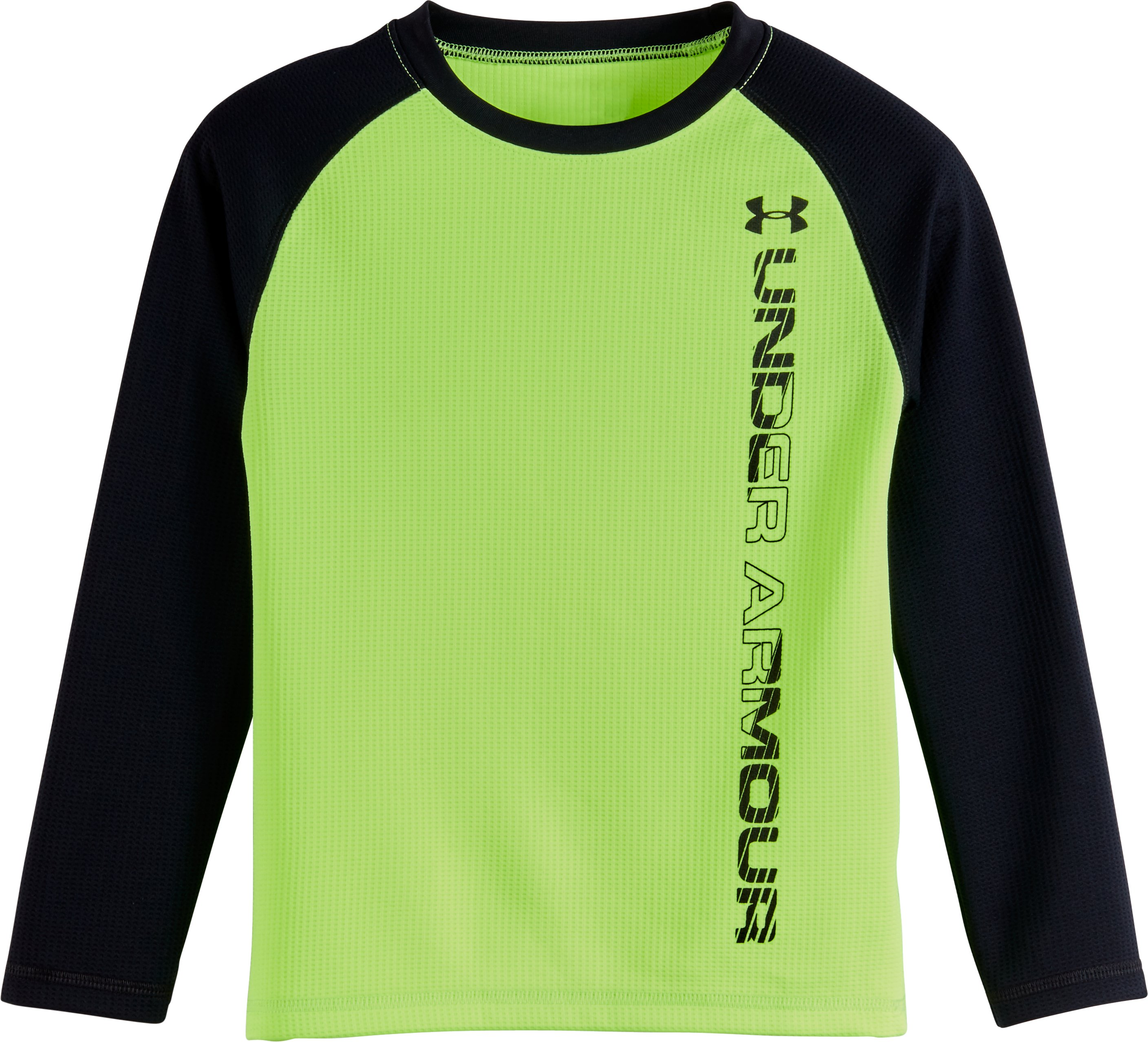 Boys' Toddler UA Waffle Crew Long Sleeve, FUEL GREEN, Laydown