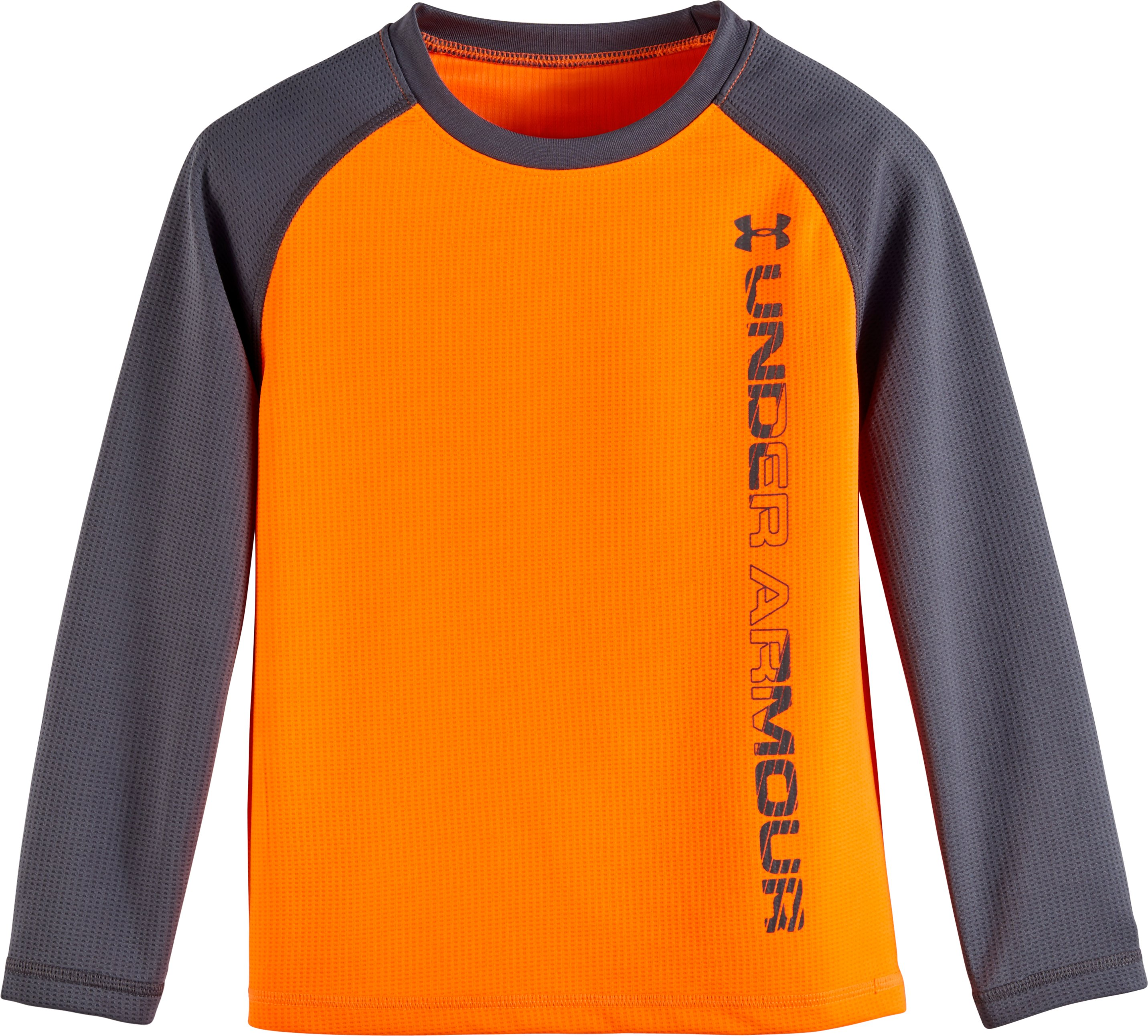 Boys' Pre-School UA Waffle Crew Long Sleeve, Blaze Orange, Laydown