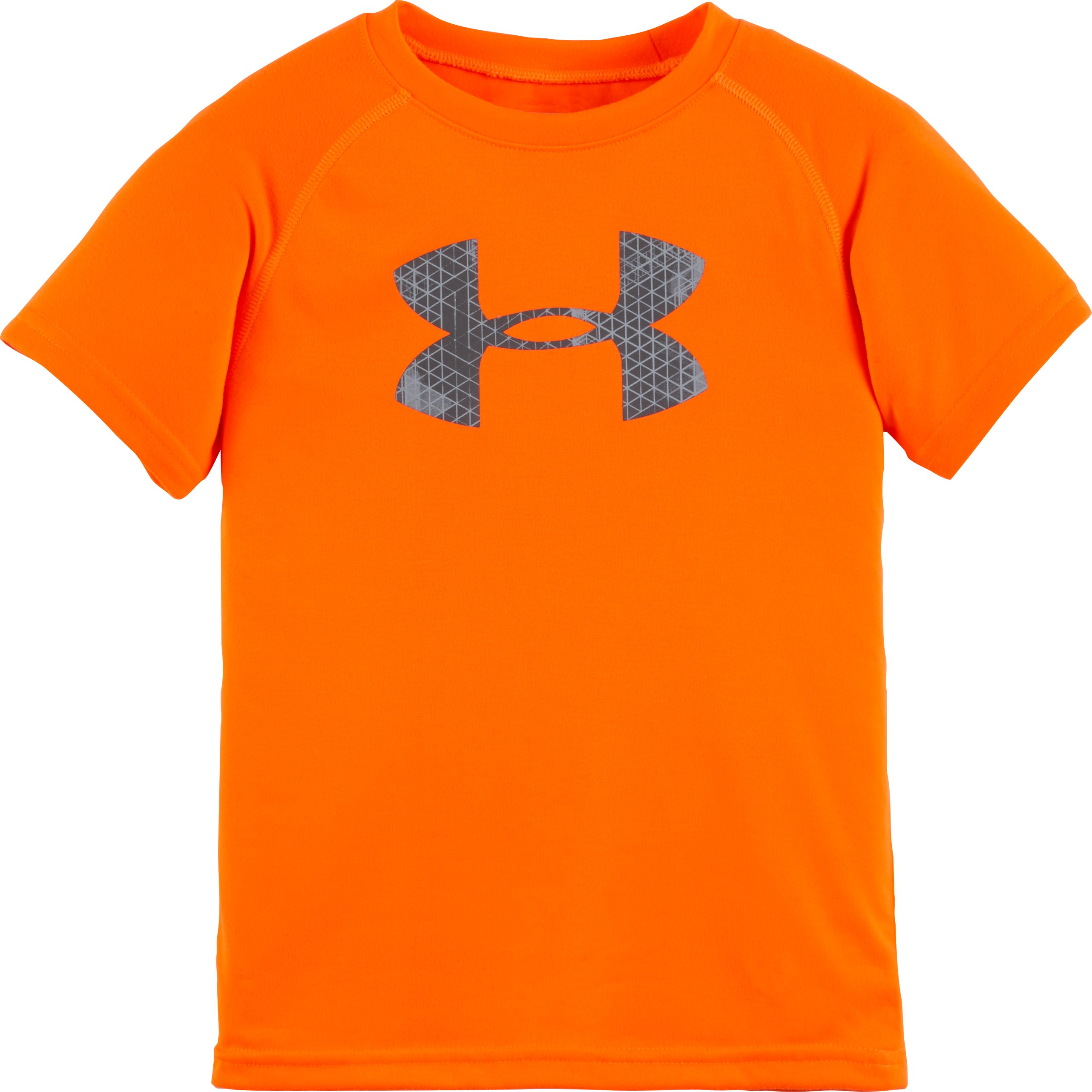 Boys' Pre-School UA Hexascope Big Logo Short Sleeve T-Shirt, Blaze Orange, Laydown