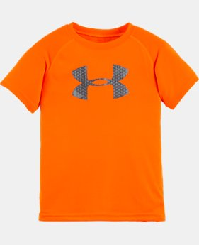 New Arrival Boys' Pre-School UA Hexascope Big Logo Short Sleeve T-Shirt  1 Color $17.99