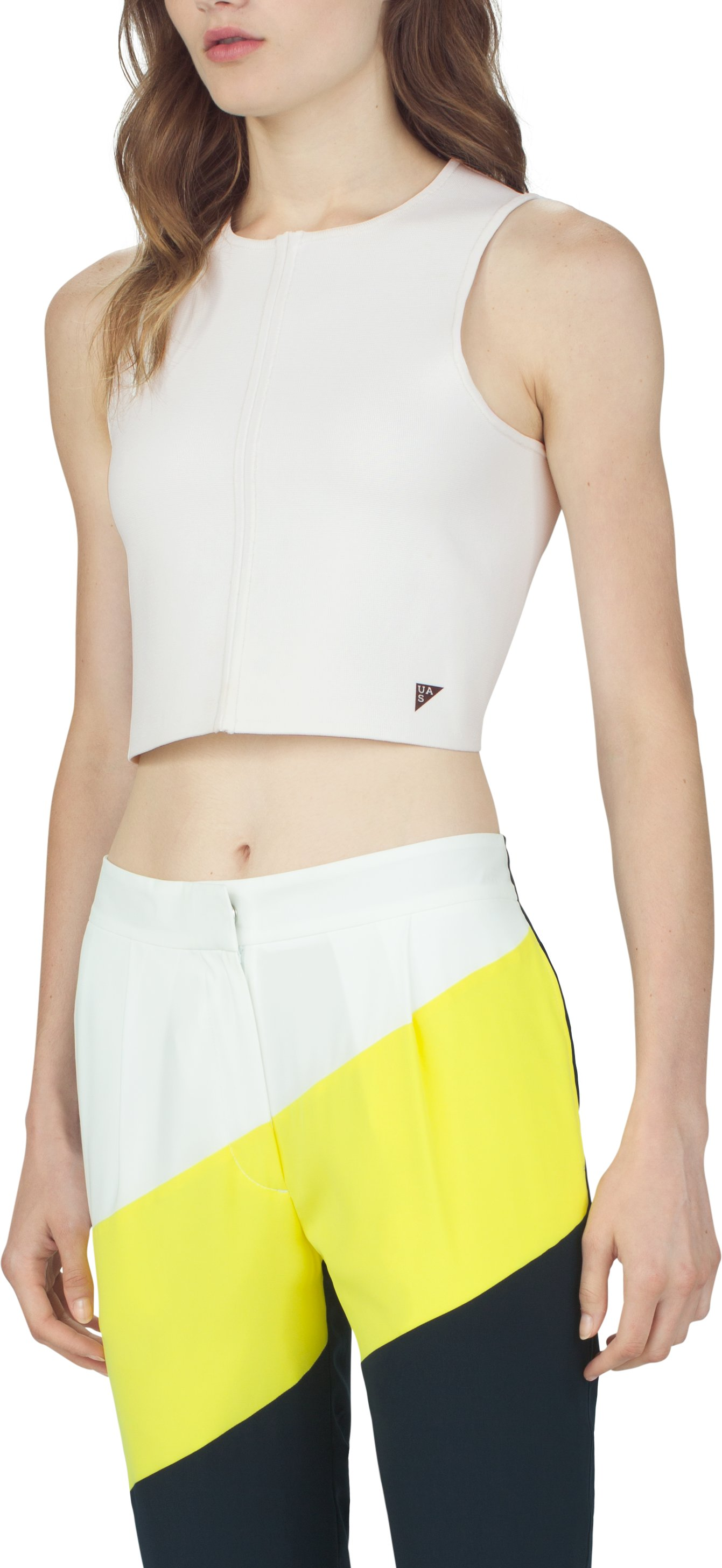 Women's UAS Racer Cropped Tank, White, zoomed image