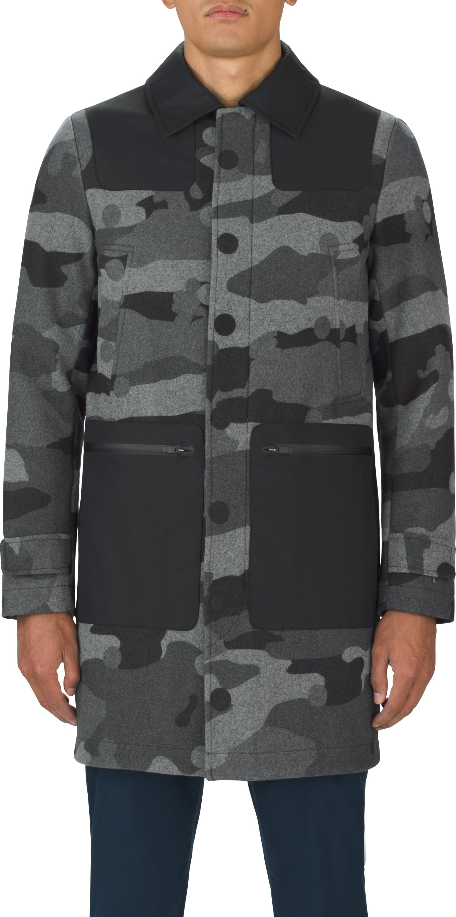 Men's UAS Fieldhouse Camo Coaches Trench, Black , undefined