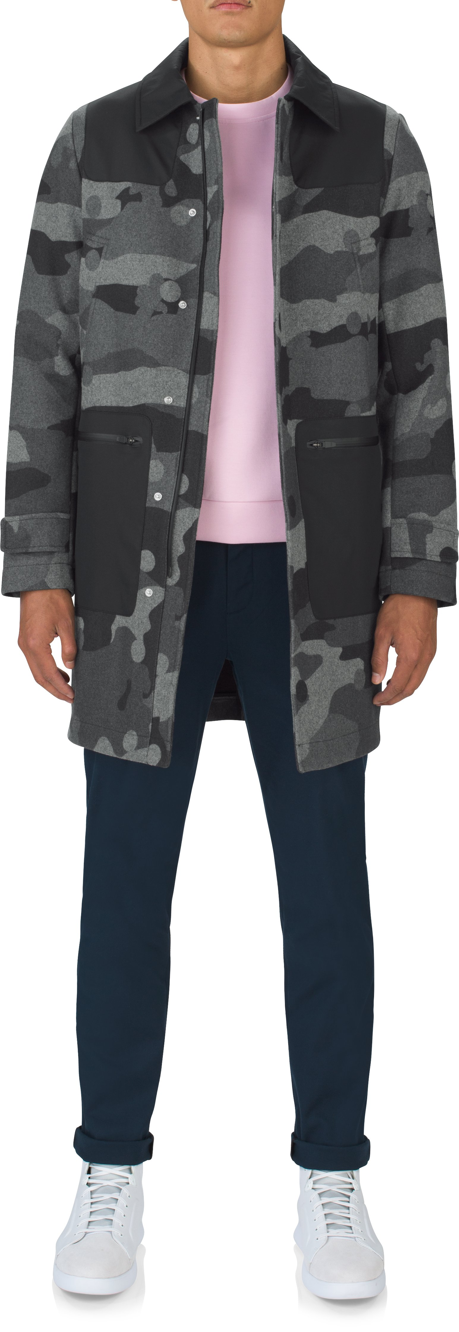 Men's UAS Fieldhouse Camo Coaches Trench, Black , Front