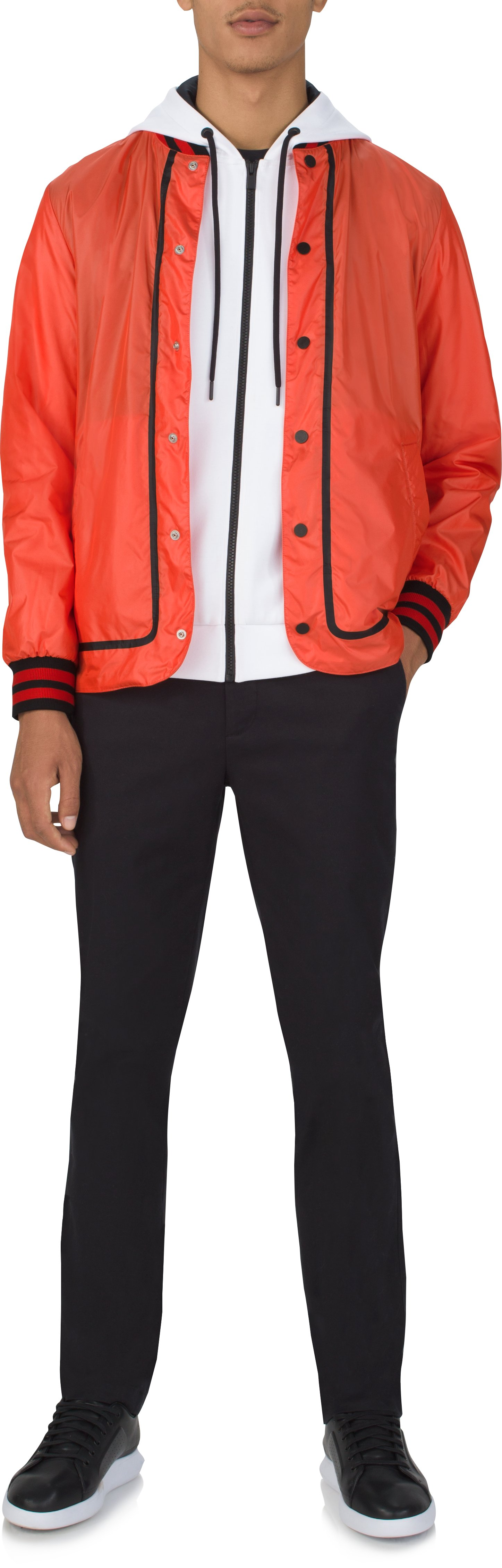 Men's UAS Coaches Jacket Water Resistant Woven Shell, Orange , Front