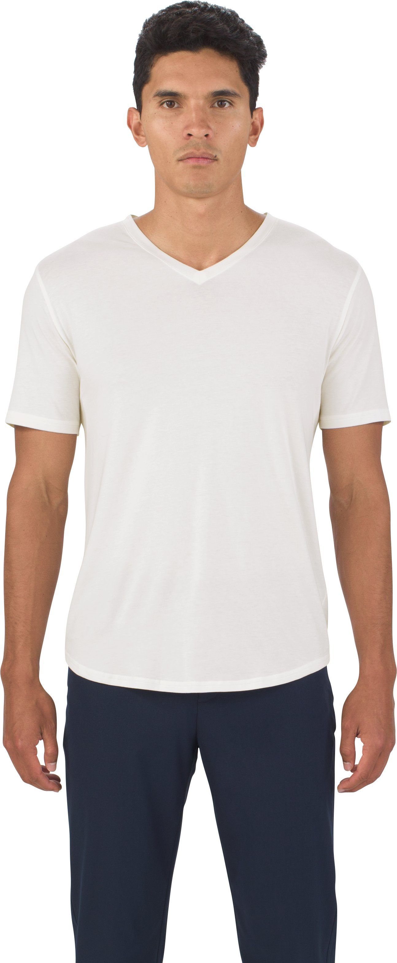 UAS Highline Cashmere-Cotton V-Neck, White, undefined
