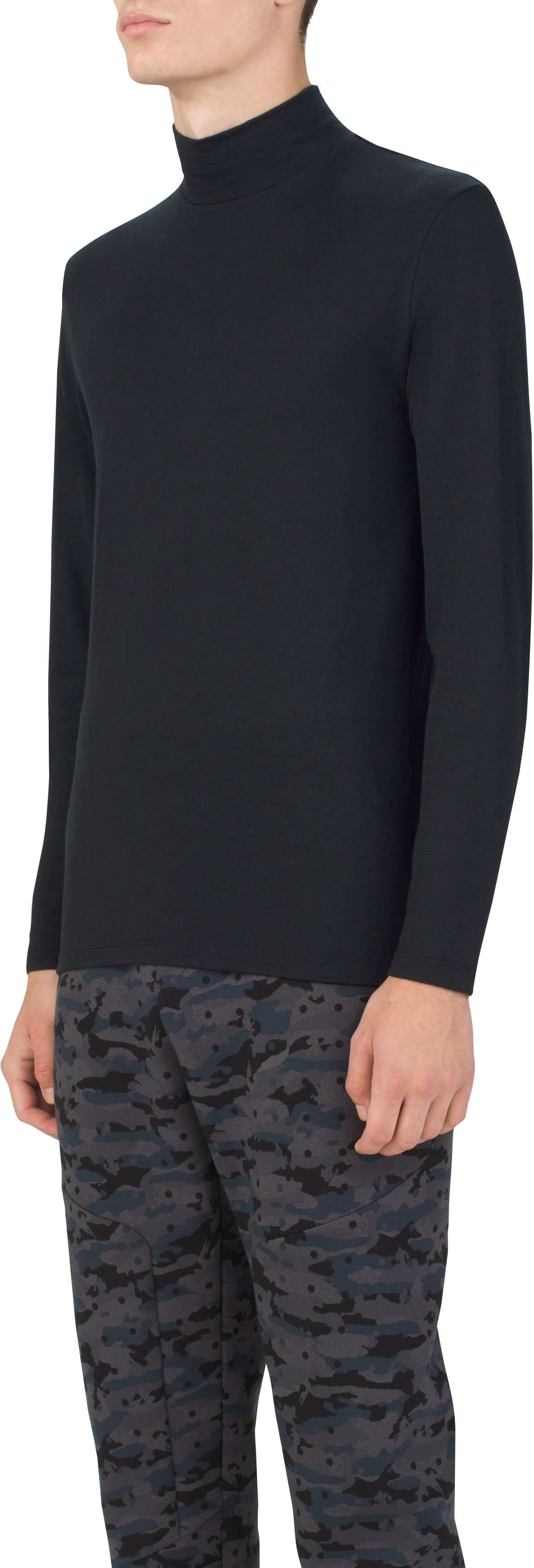 Men's UAS Prime Long Sleeve Mock, Black , zoomed image