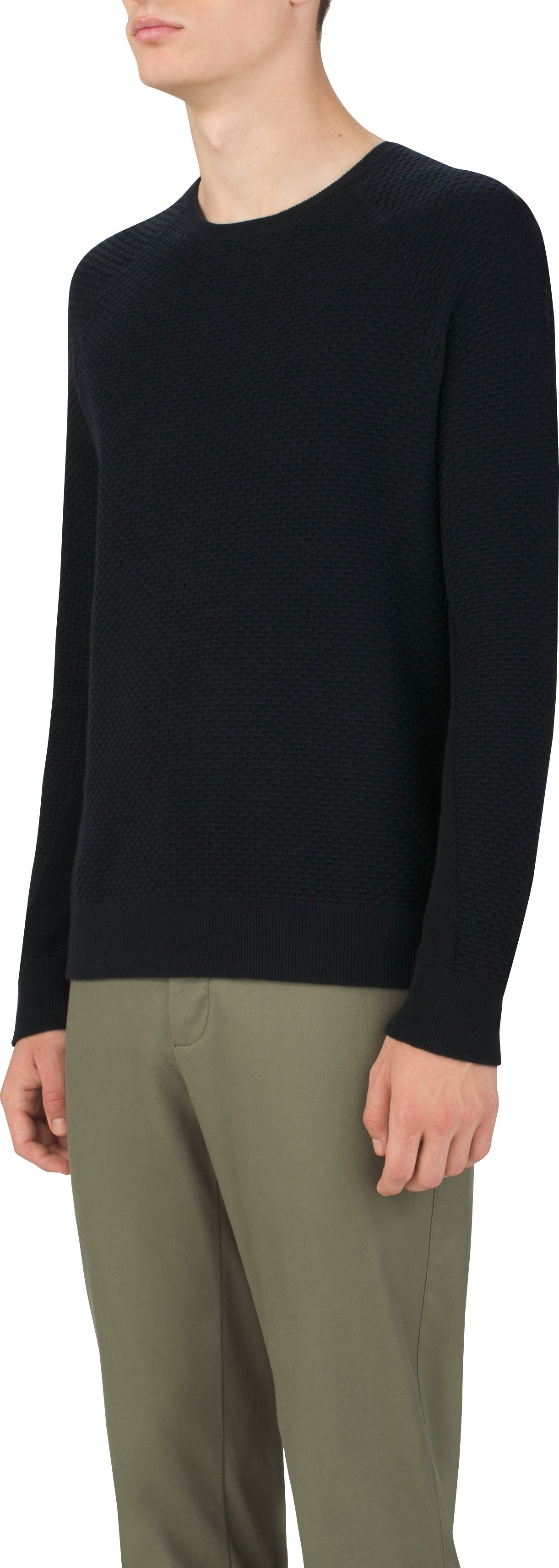 Gridknit Crew Sweater, Black , zoomed image