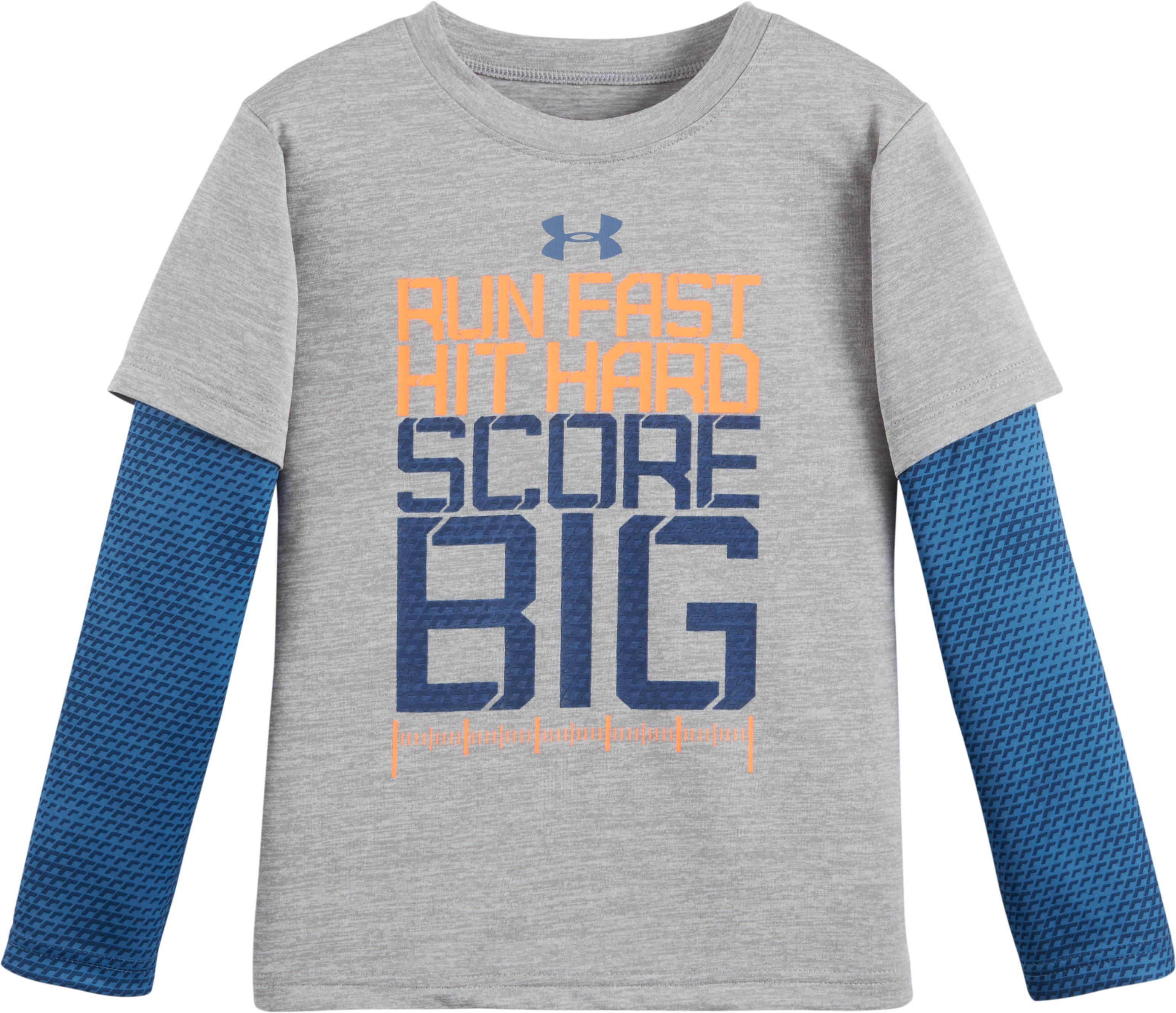 Boys' Toddler UA Run Fast Game Day Slider, True Gray Heather, Laydown