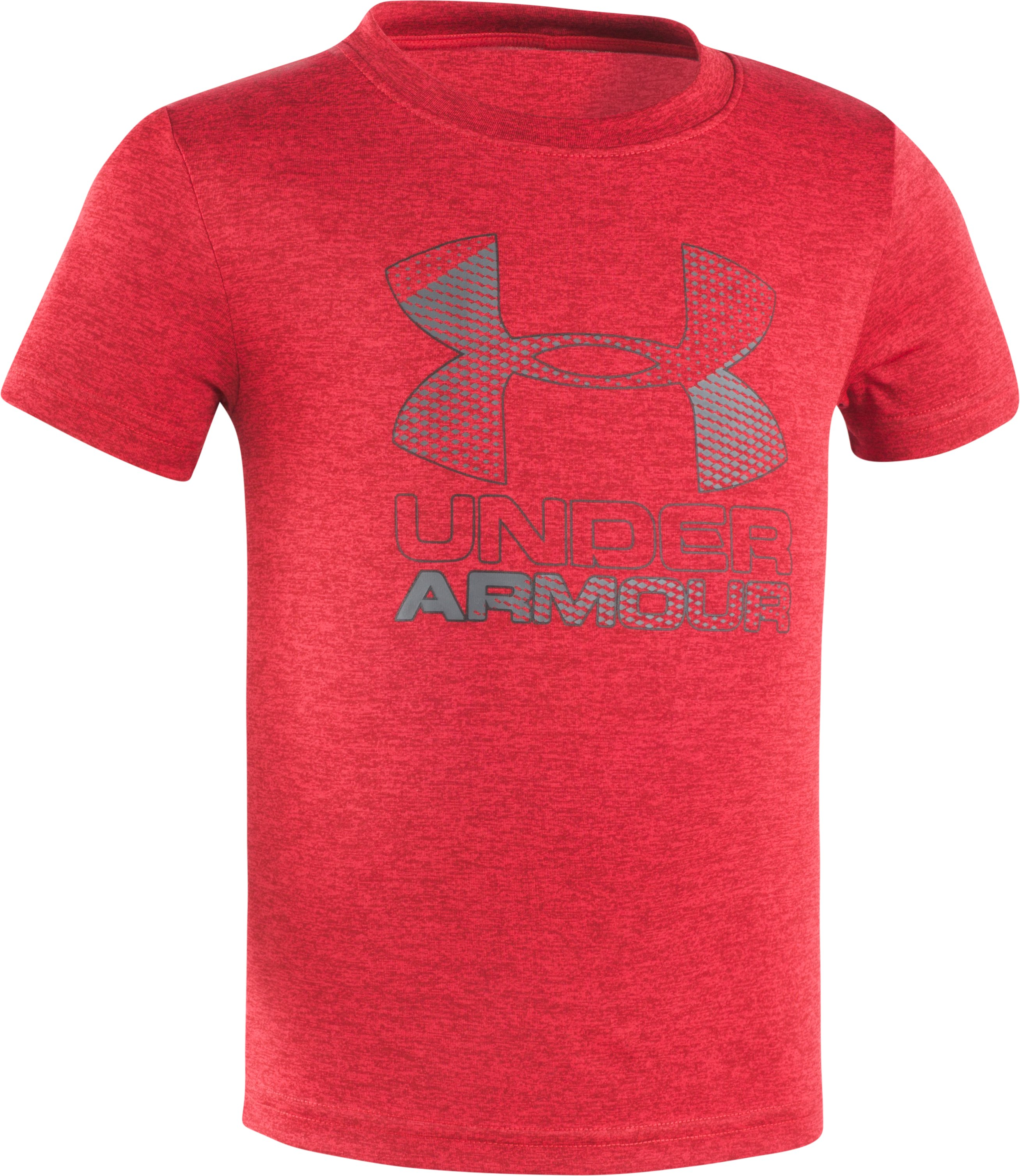Boys' Toddler UA Big Logo Hybrid Short Sleeve Twist T-Shirt, Red, Laydown