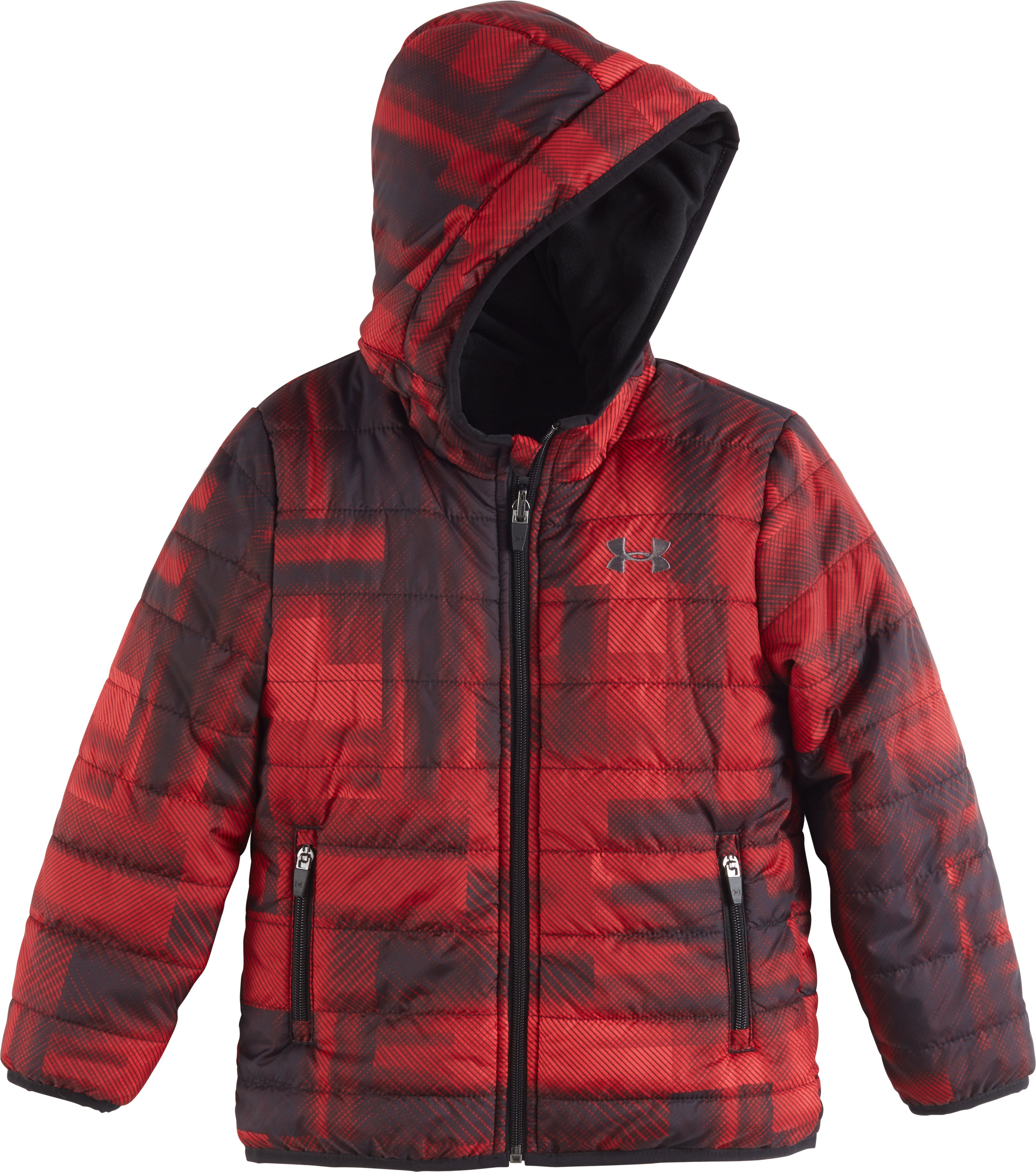 Boys' Pre-School UA Blast Feature Reversible Puffer Jacket, Red, Laydown