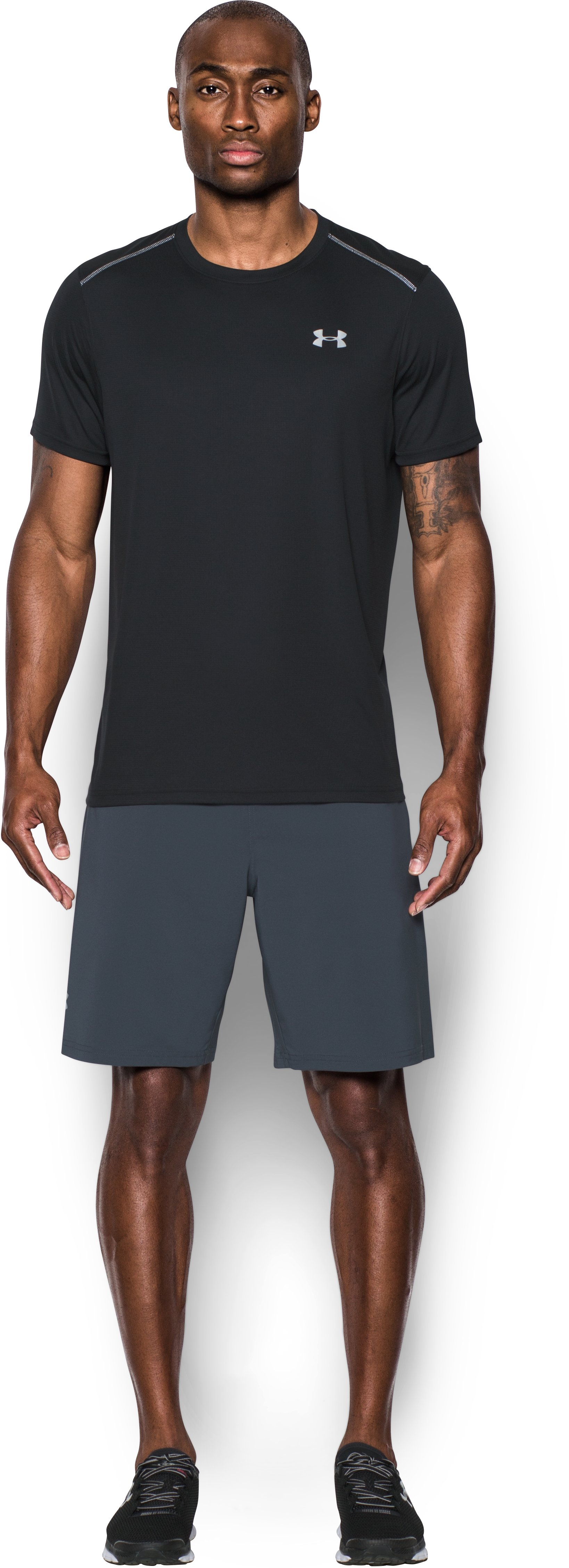 Men's UA CoolSwitch Run Short Sleeve, Black , Front