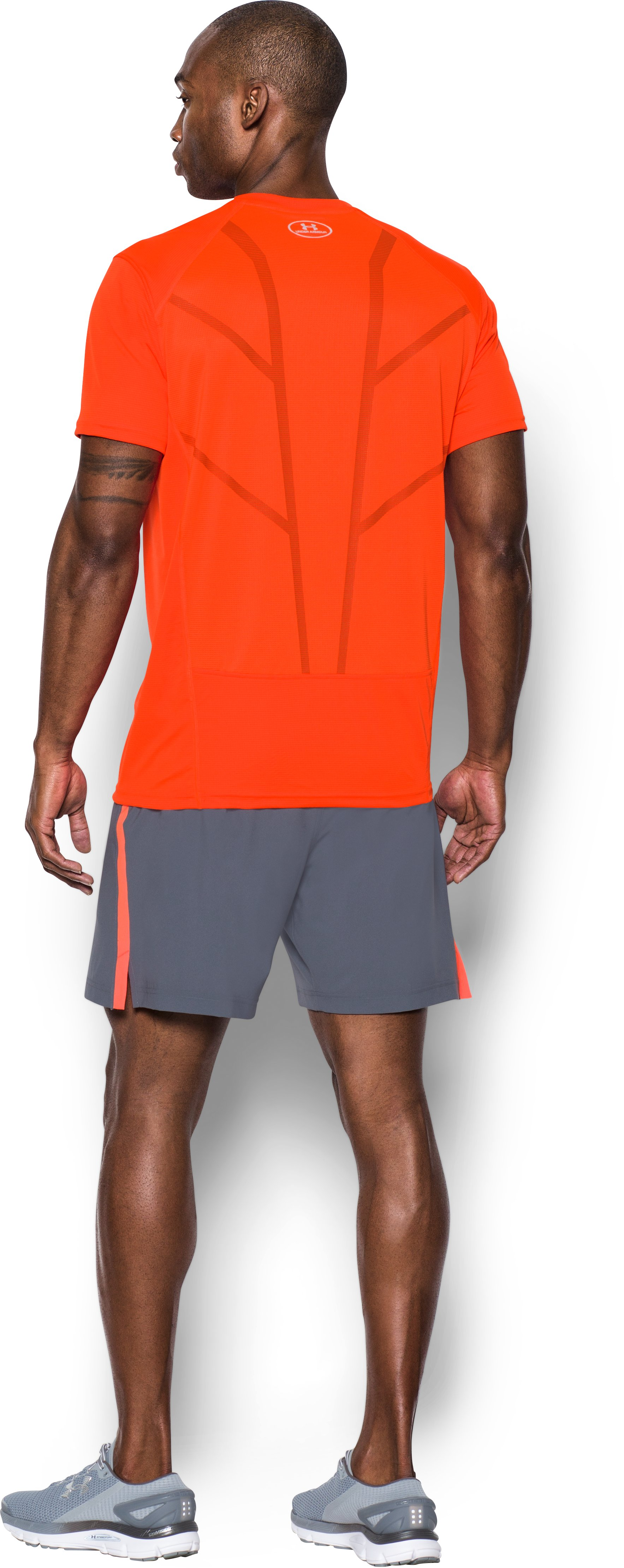 Men's UA CoolSwitch Run Short Sleeve, PHOENIX FIRE, Back