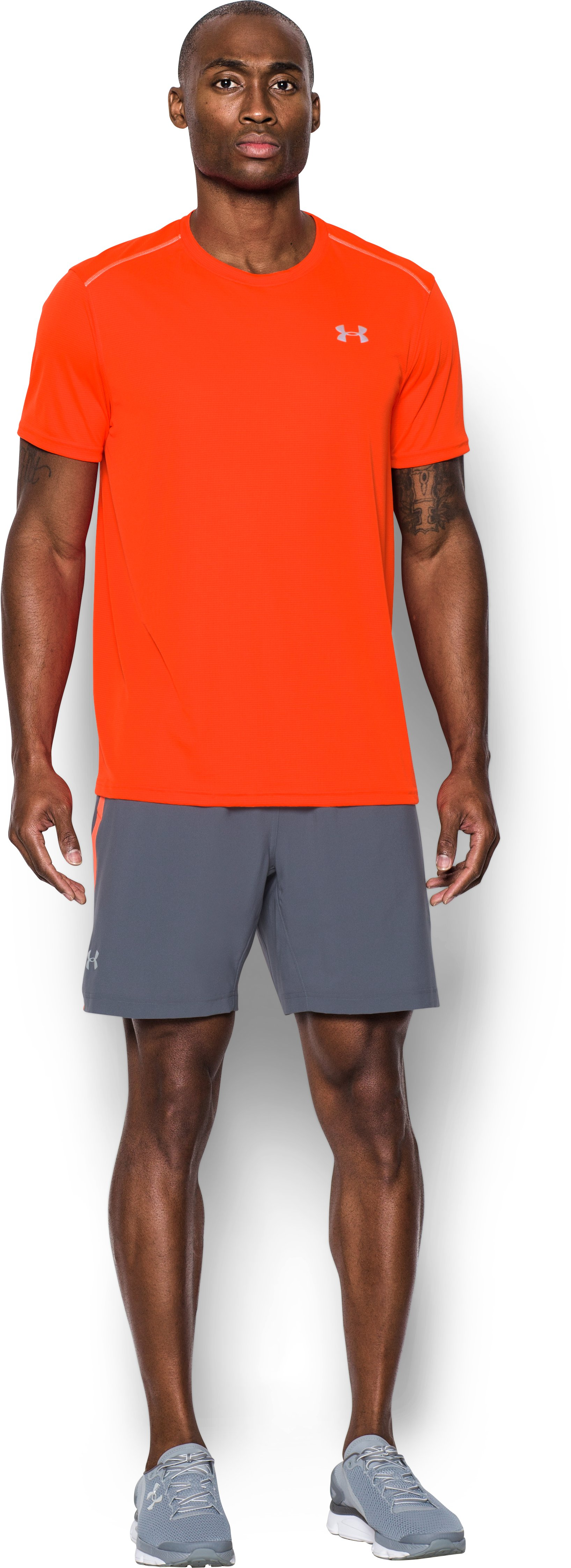 Men's UA CoolSwitch Run Short Sleeve, PHOENIX FIRE, Front