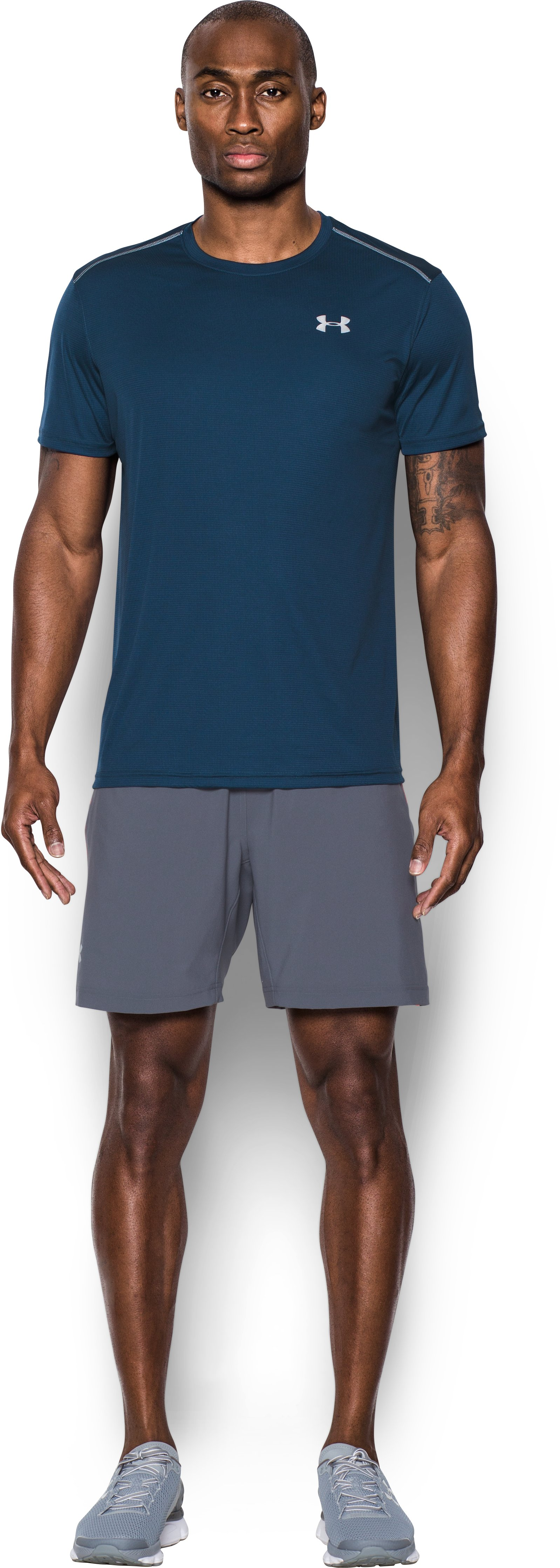 Men's UA CoolSwitch Run Short Sleeve, BLACKOUT NAVY, Front