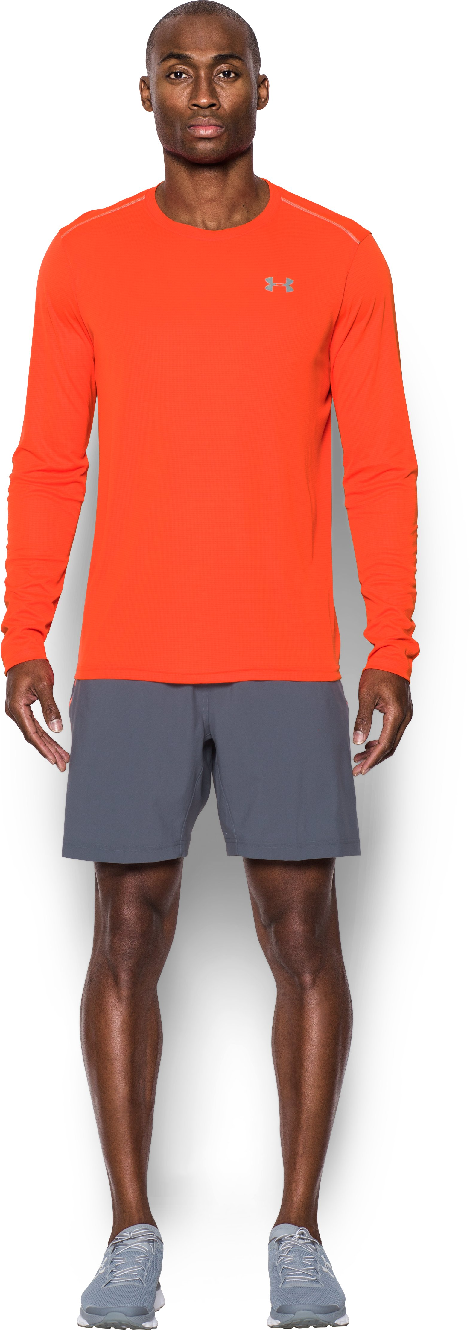 Men's UA CoolSwitch Run Long Sleeve, PHOENIX FIRE, Front