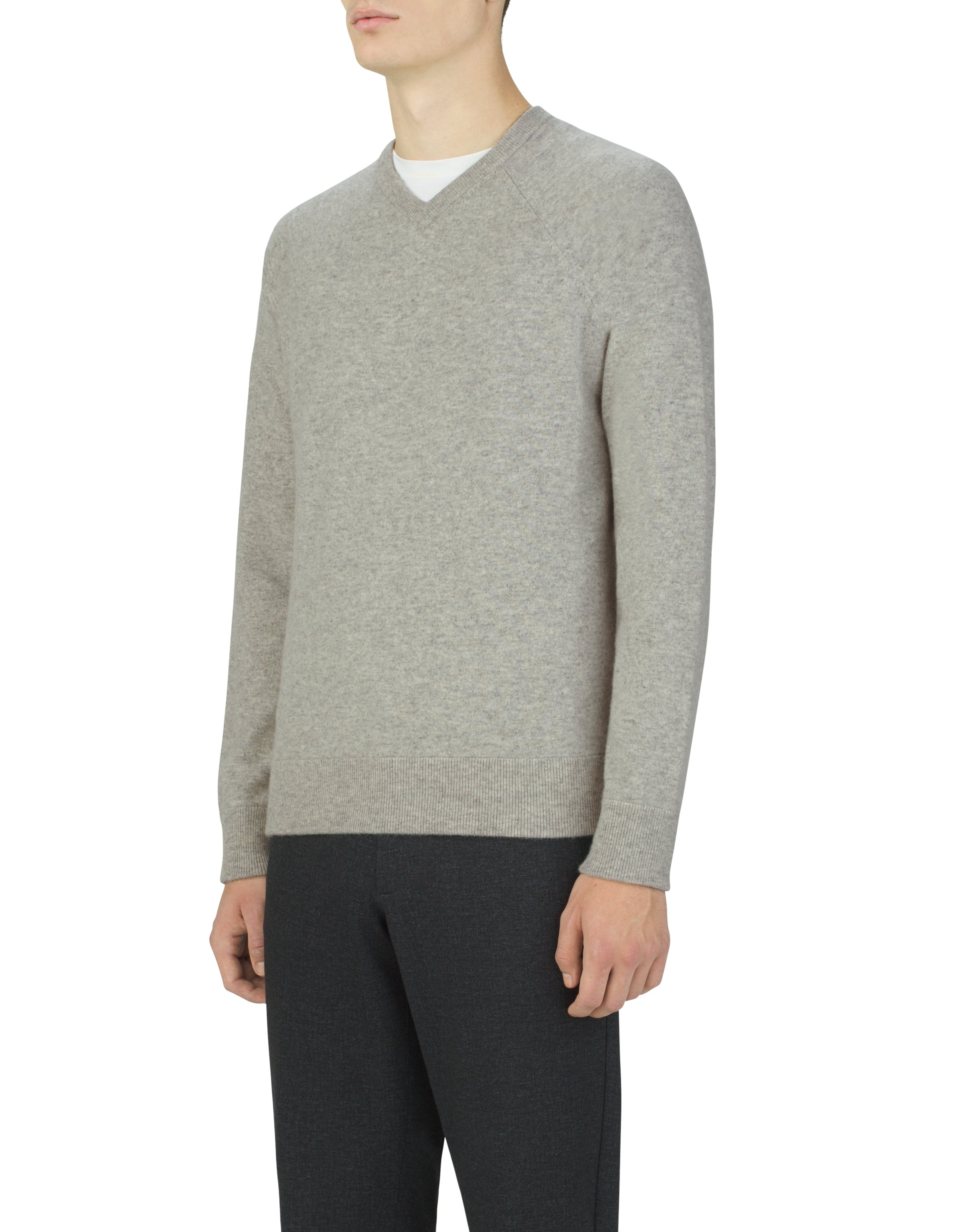 Men's UAS Gridknit Cashmere V-Neck Sweater, LIGHT HEATHER GRAY, zoomed image