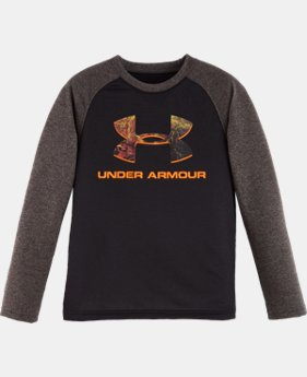 New Arrival Boys' Toddler UA Hunt Big Logo Raglan Long Sleeve   $22.99