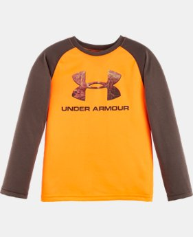 New Arrival Boys' Pre-School UA Hunt Big Logo Raglan Long Sleeve   $22.99