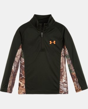 New Arrival Boys' Toddler UA Hunt Camo Raglan 1/4 Zip   $36.99