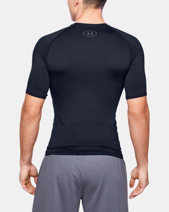 Men's HeatGear® Armour Compression Short Sleeve, Navy, pdpMainDesktop image number 2