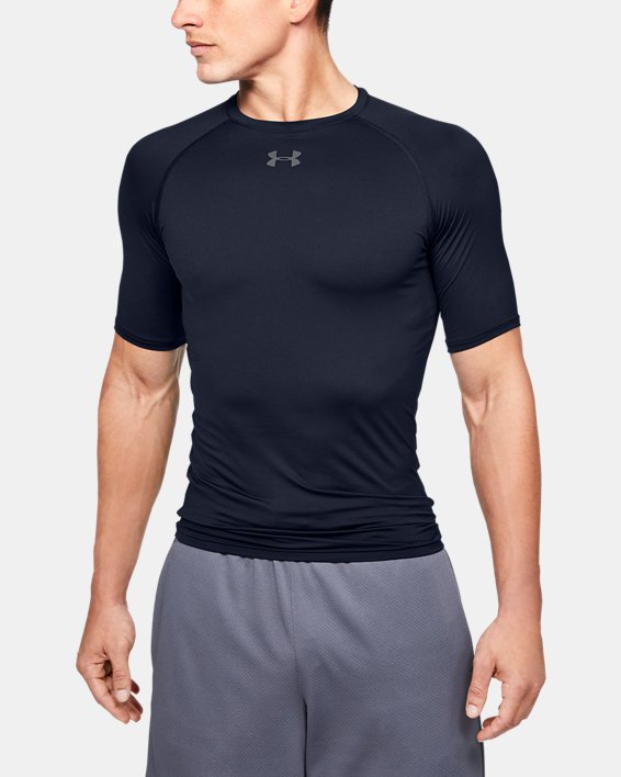 Men's HeatGear® Armour Compression Short Sleeve, Navy, pdpMainDesktop image number 0