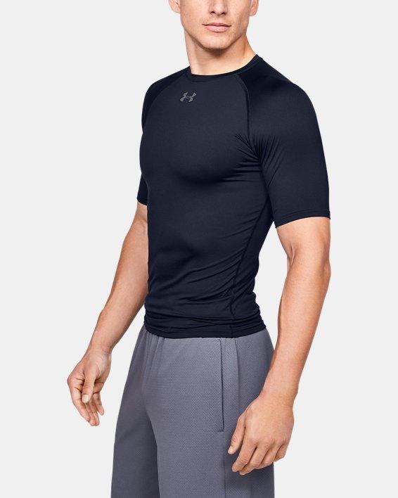 Men's HeatGear® Armour Compression Short Sleeve, Navy, pdpMainDesktop image number 3
