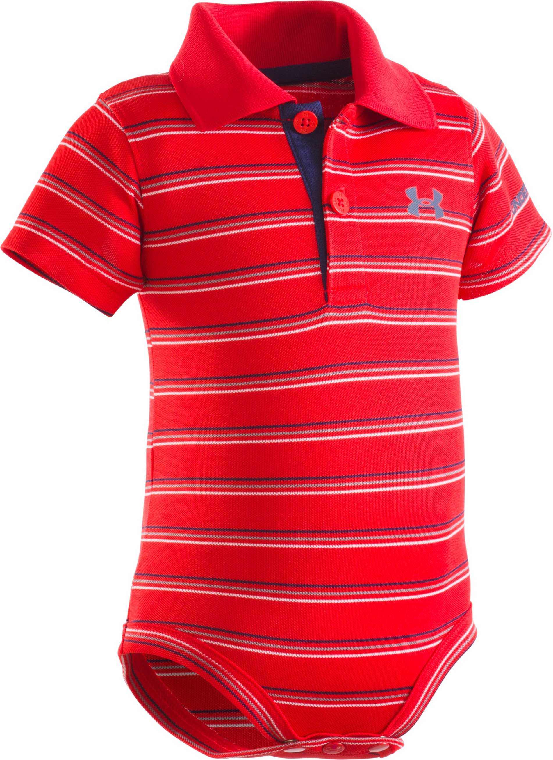 Boys' Infant UA Yarn Dye Polo Bodysuit, RISK RED, Laydown