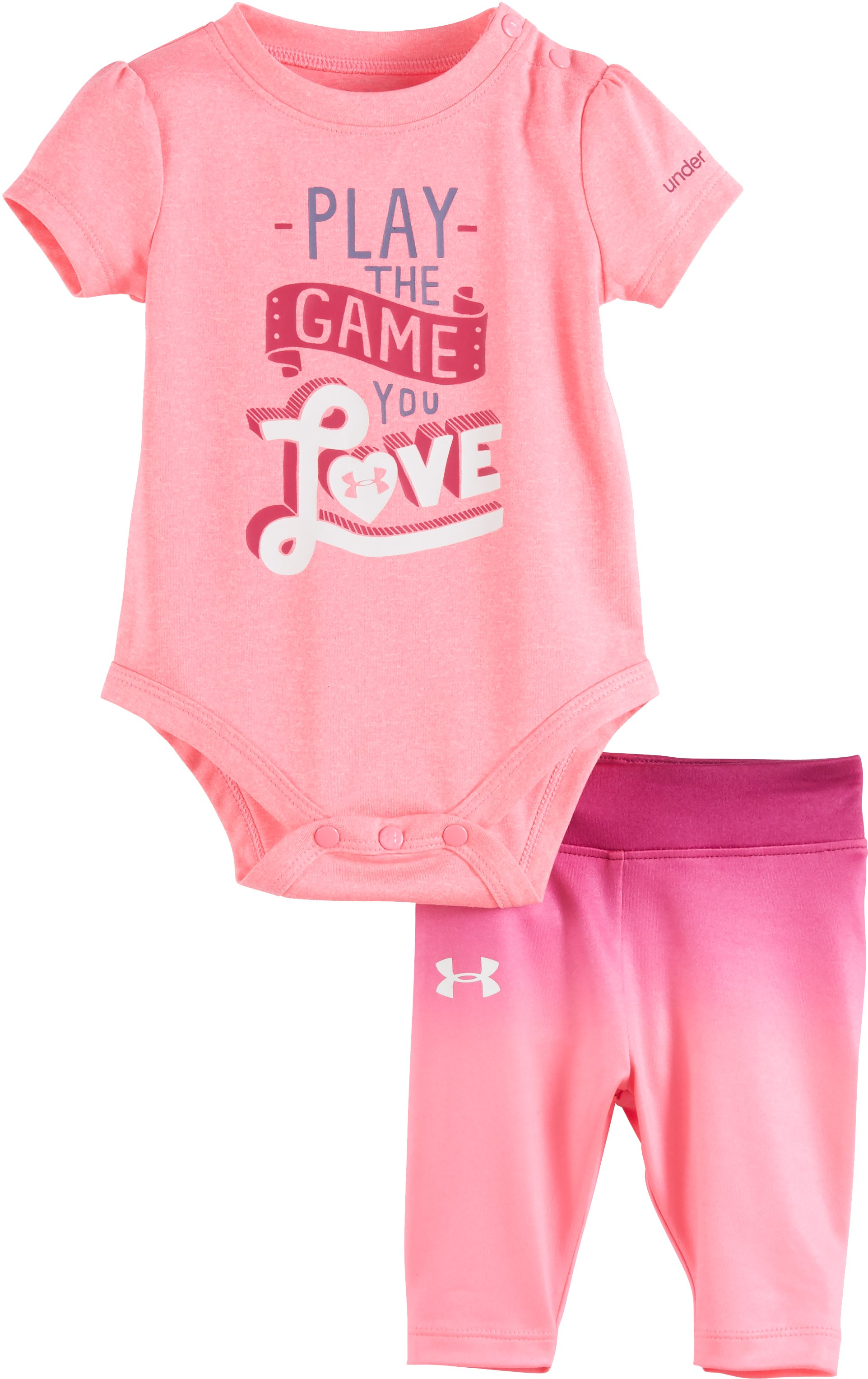 Girls' Newborn UA Play The Game You Love Set, PINK PUNK, Laydown