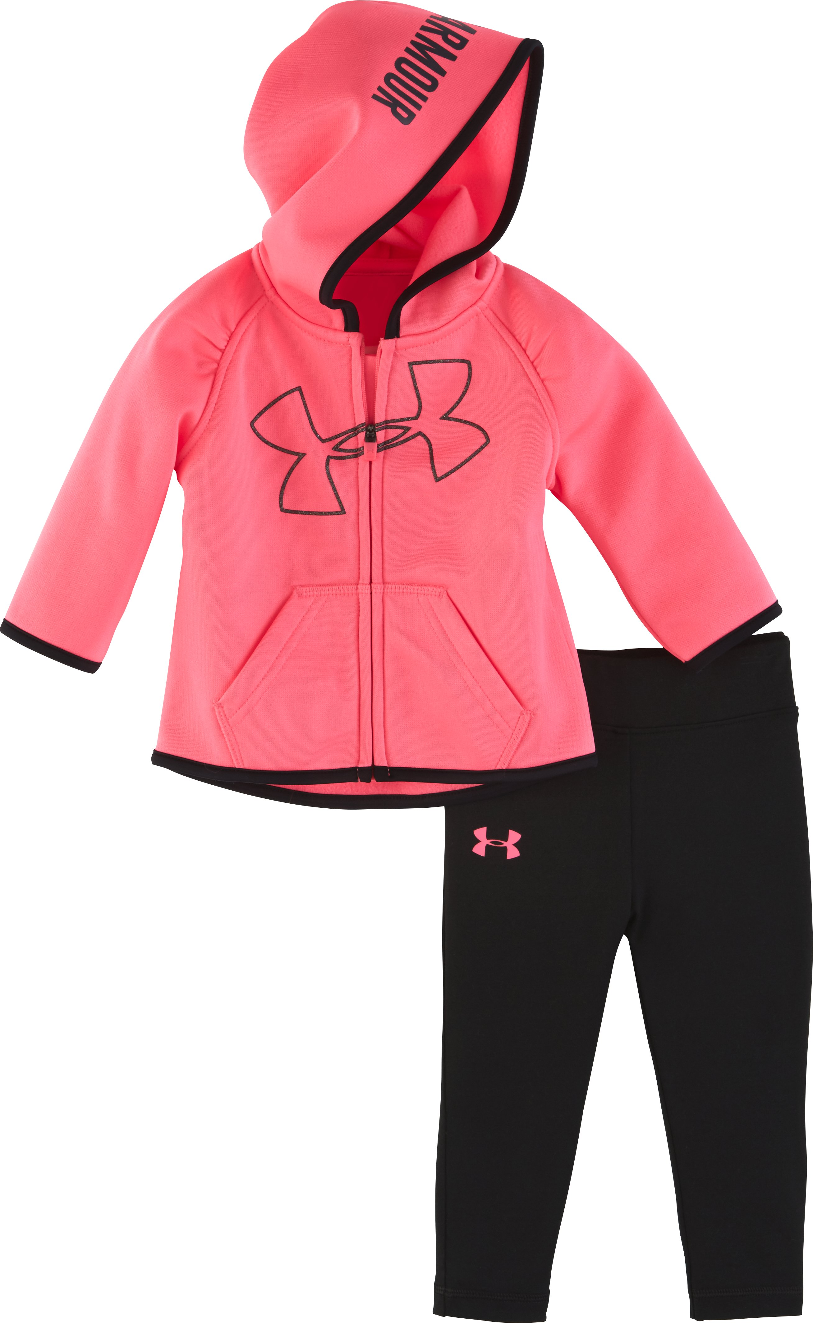 Girls' Infant UA Big Logo Hoodie Set, PINK PUNK, Laydown