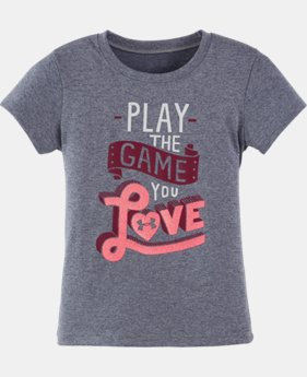 New Arrival Girls' Pre-School UA Play The Game You Love T-Shirt   $17.99