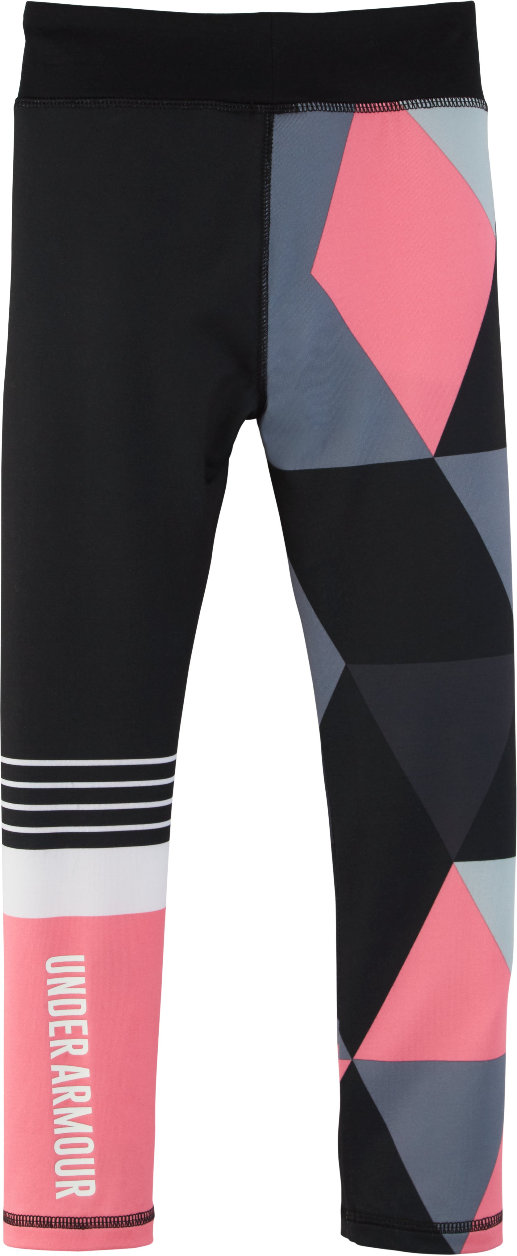 Girls' Pre-School UA Mix Master Stripe Logo Leggings , Black