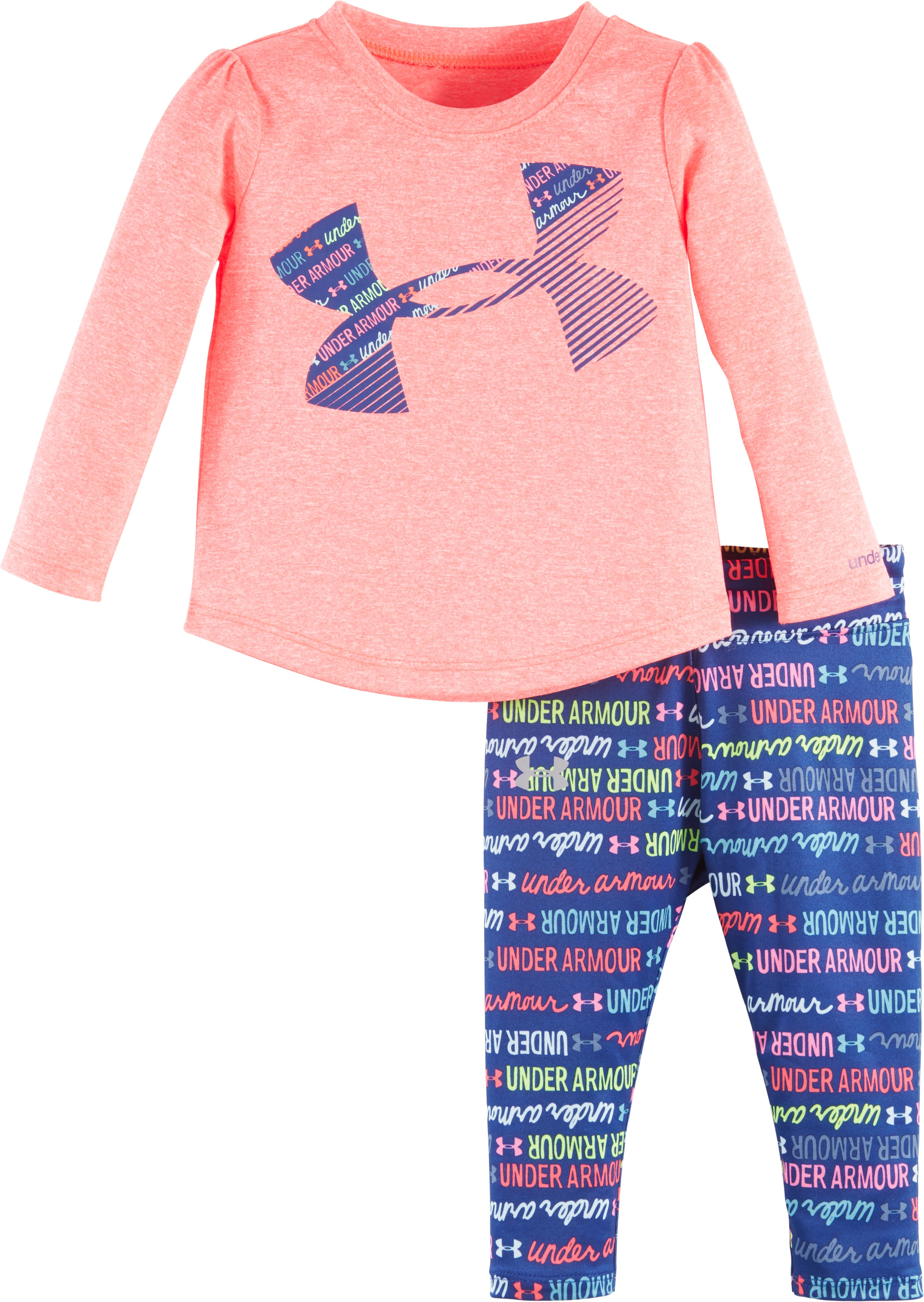 Girls' Infant UA Wordmark Script Set, PINK CHROMA, Laydown