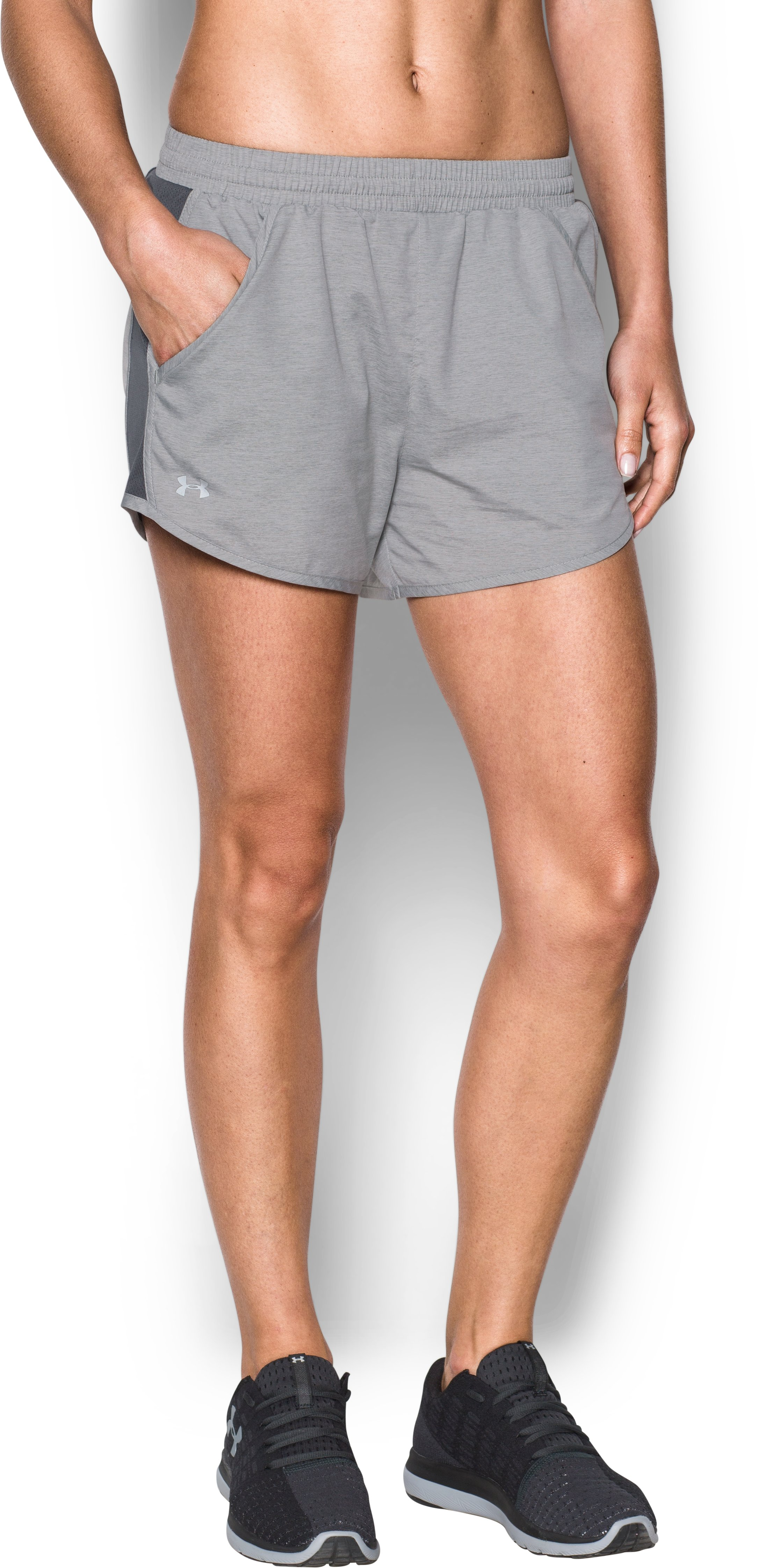 Women's UA Fly-By Shorts, True Gray Heather