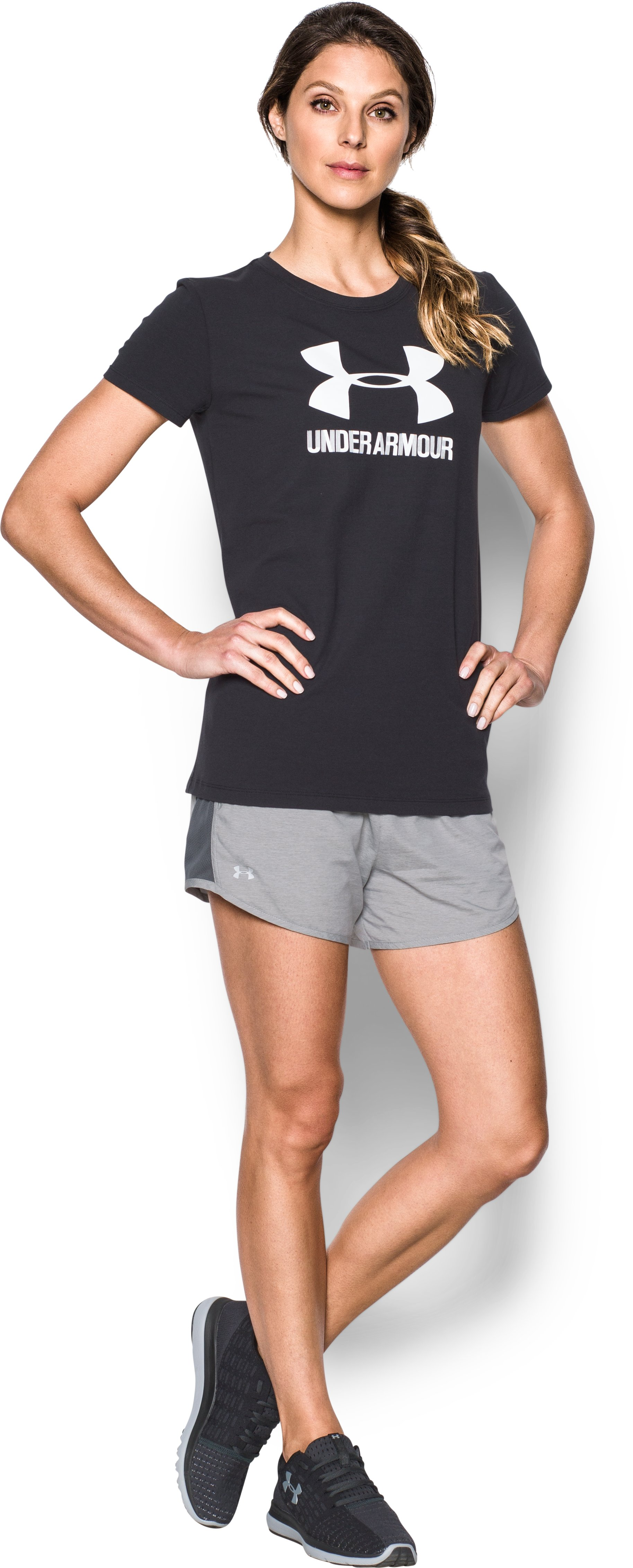 Women's UA Fly-By Shorts, True Gray Heather, Front