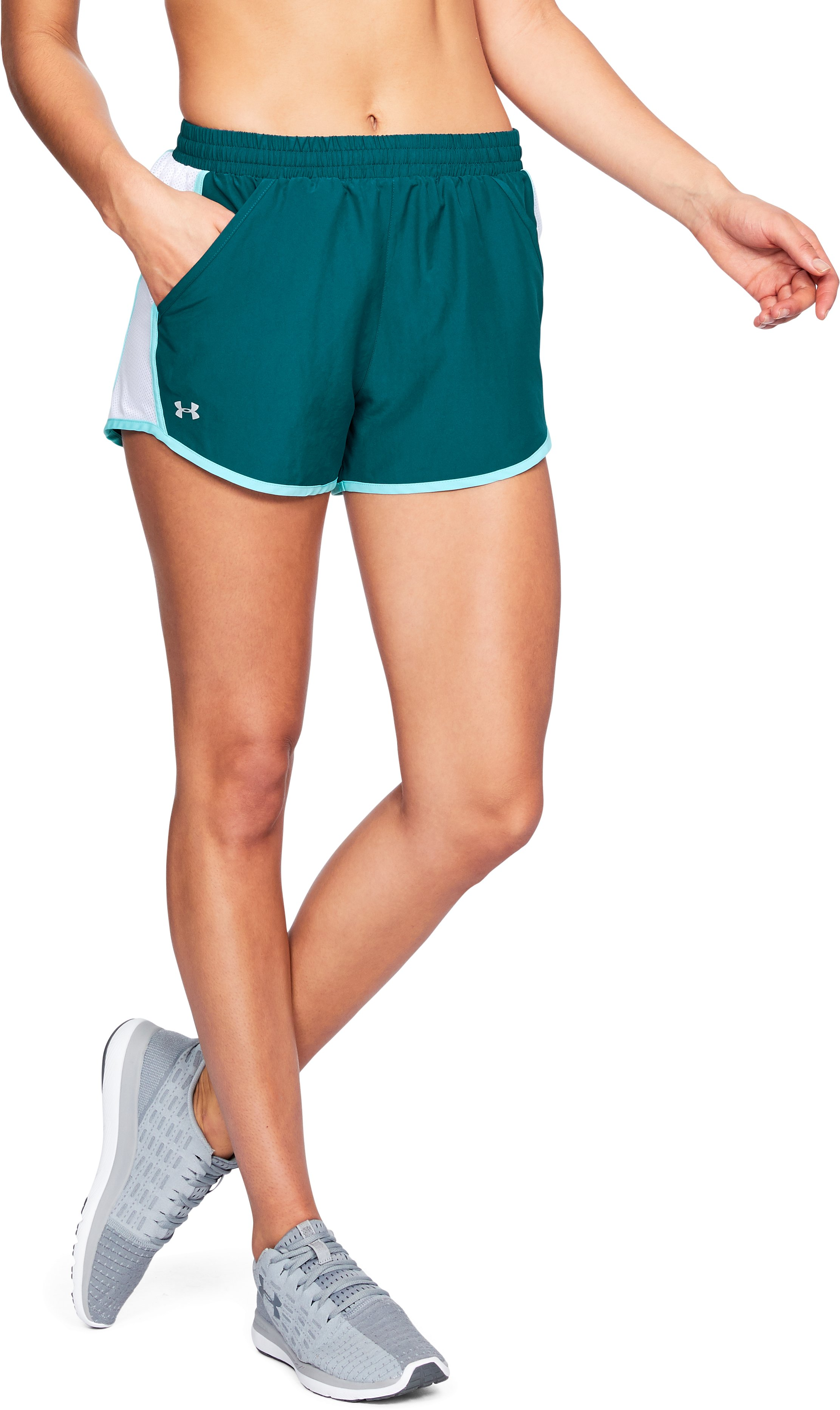 Women's UA Fly-By Shorts, TOURMALINE TEAL