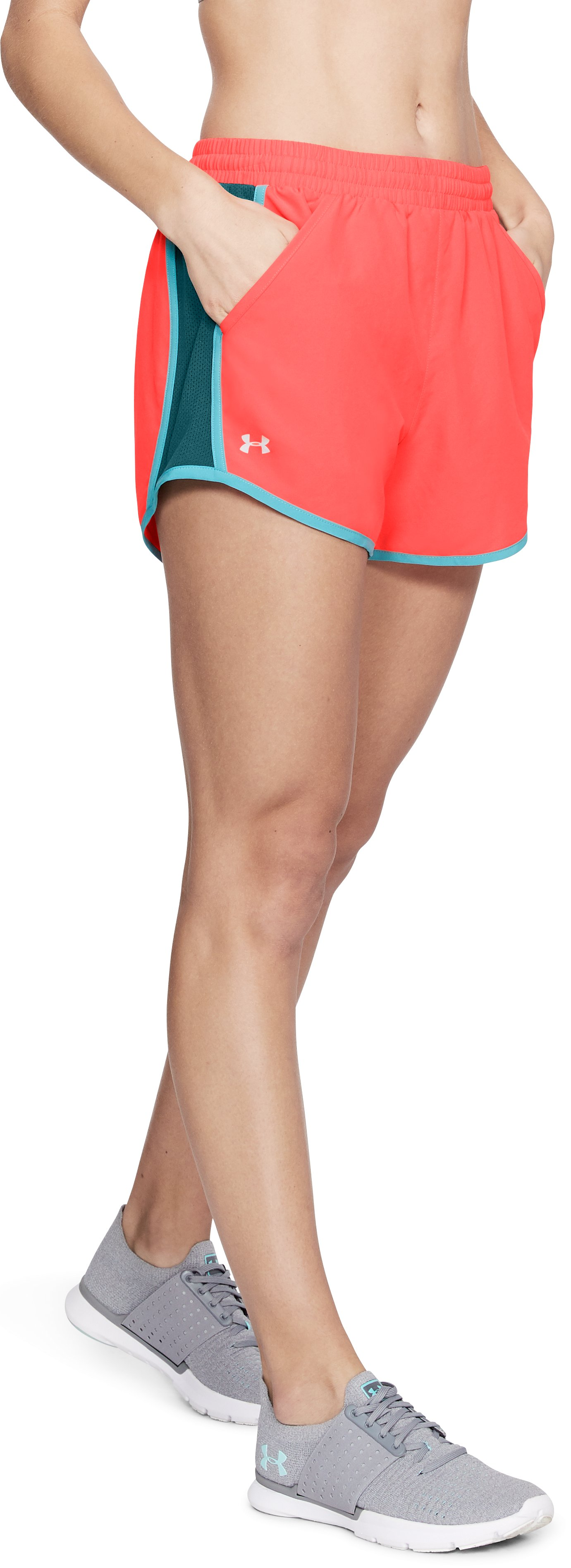Women's UA Fly-By Shorts, NEON CORAL