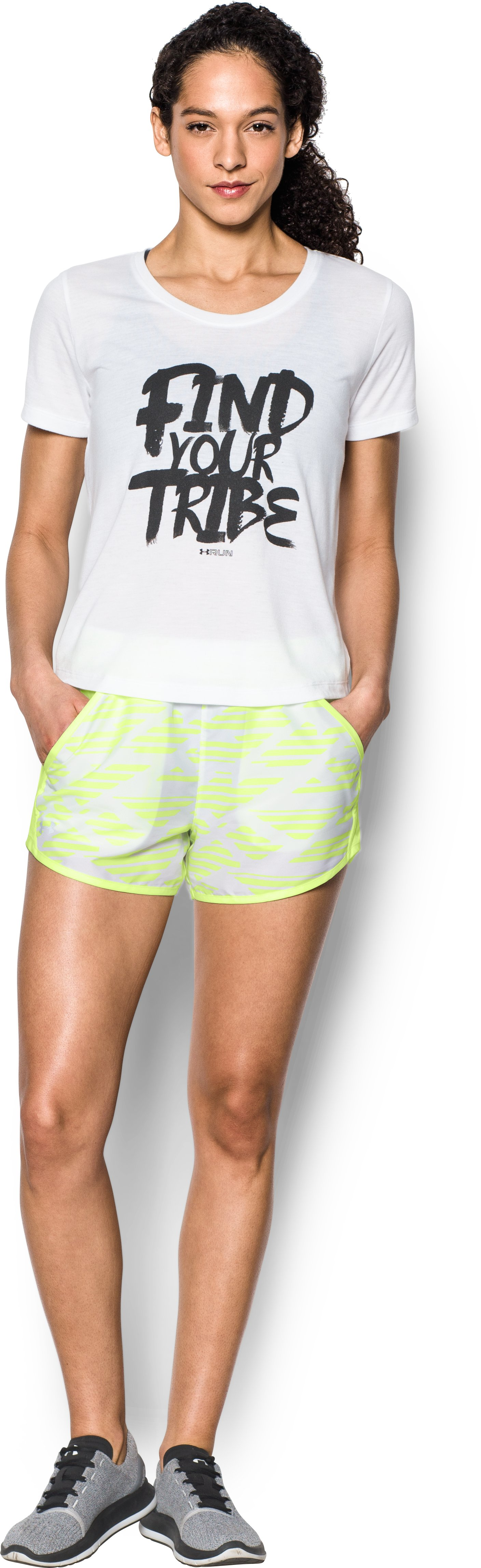 Women's UA Fly-By Printed Shorts, PALE MOONLIGHT, Front