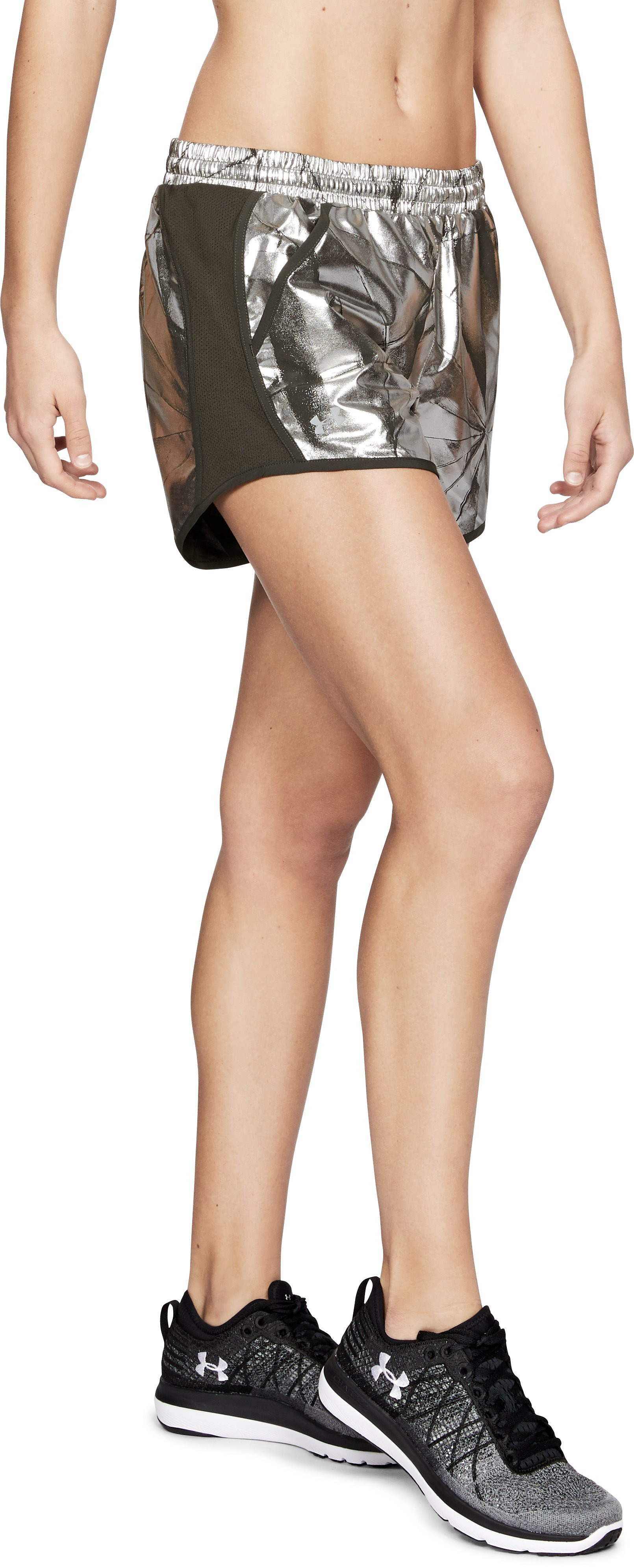 Women's UA Fly-By Printed Shorts, METALLIC FADED GOLD
