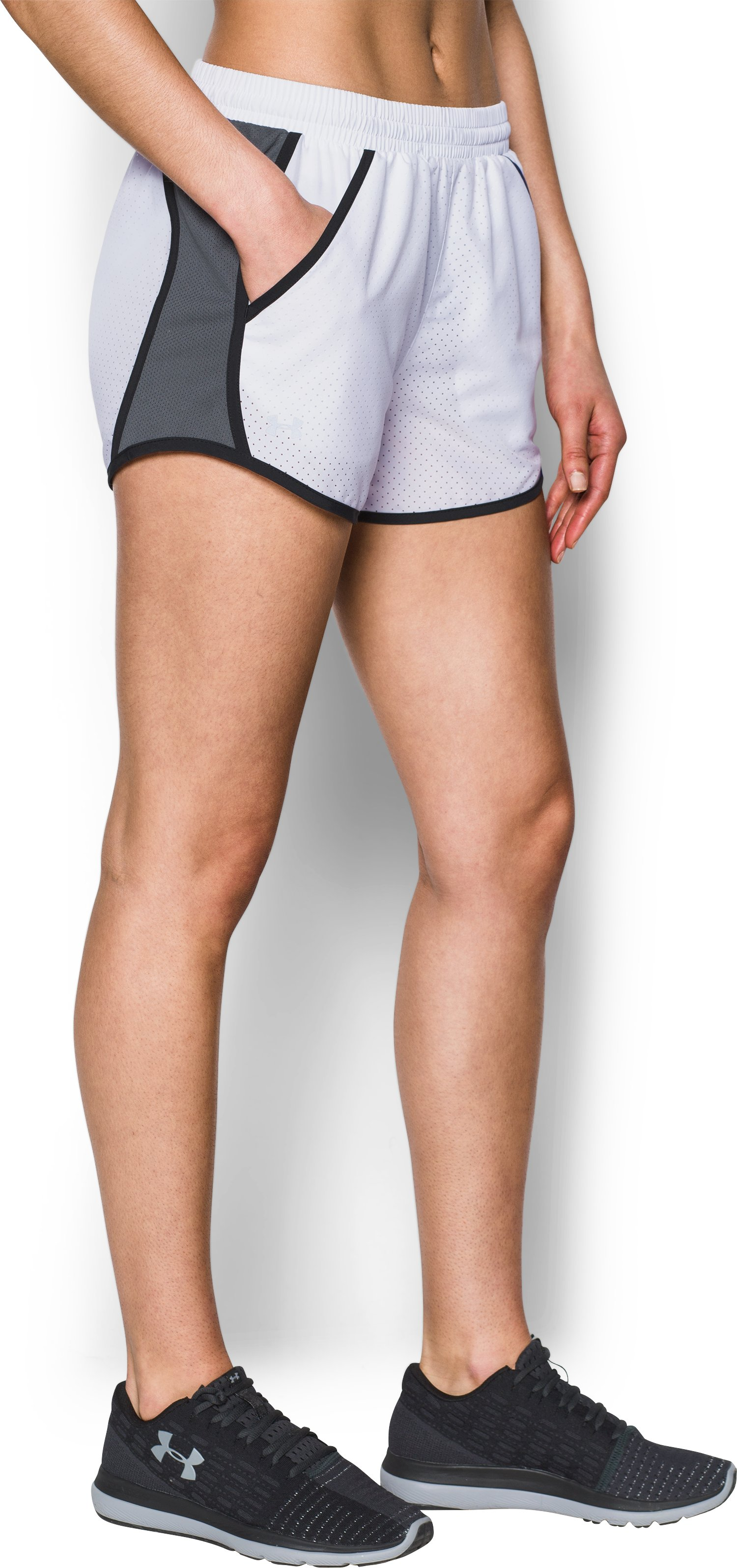 Women's UA Fly-By Perforated Shorts, White