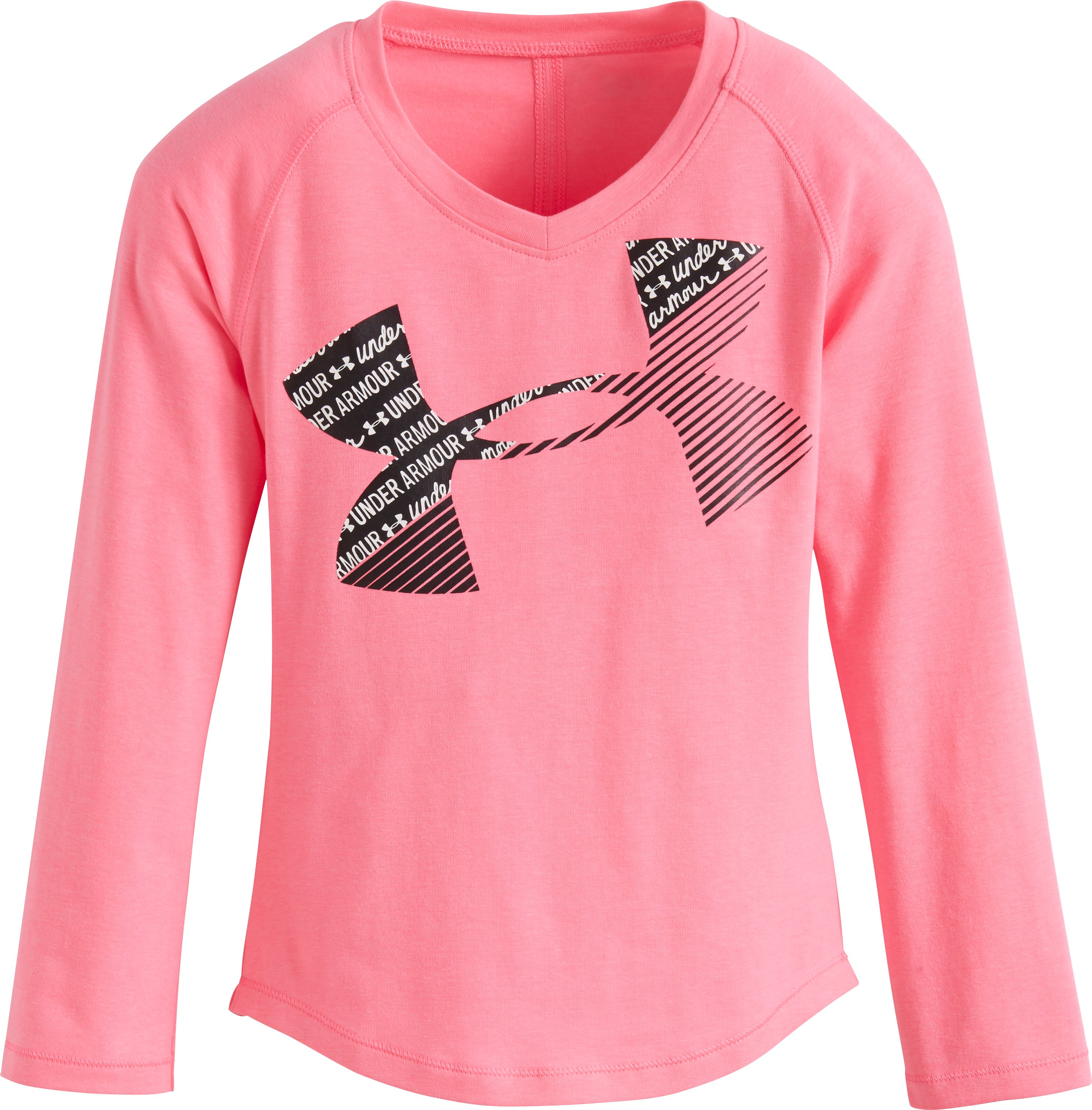 Girls' Pre-School UA Scripto Cropped Logo Long Sleeve, PINK PUNK, zoomed image