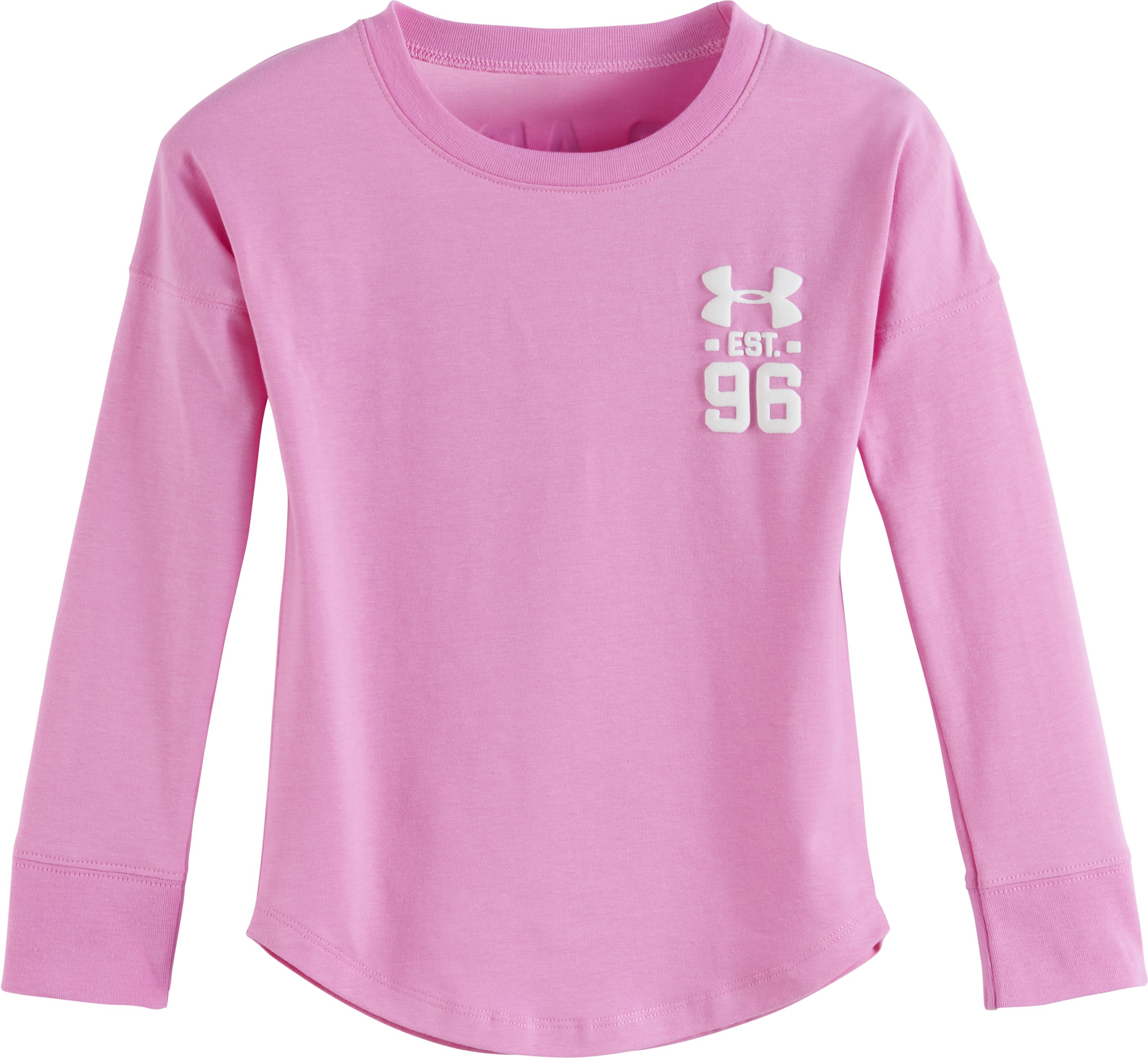 Girls' Pre-School UA Varsity Long Sleeve, VERVE VIOLET, Laydown